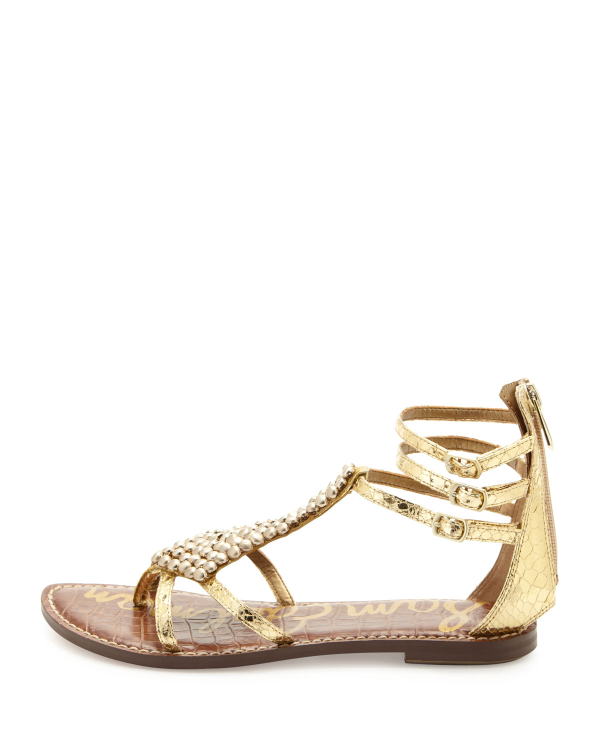 c4bffb0317d Lyst - Sam Edelman Ginger Beaded Metallic Gladiator Sandal in Metallic