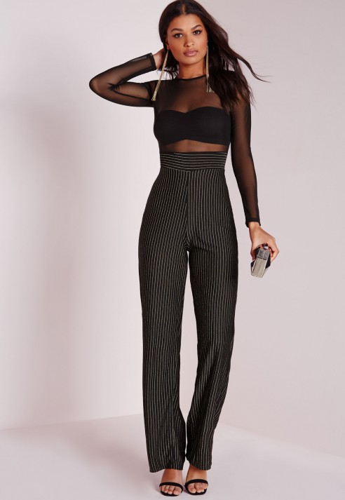 1354a52fd6ca Lyst - Missguided Mesh Top Stripe Jumpsuit Black in Black