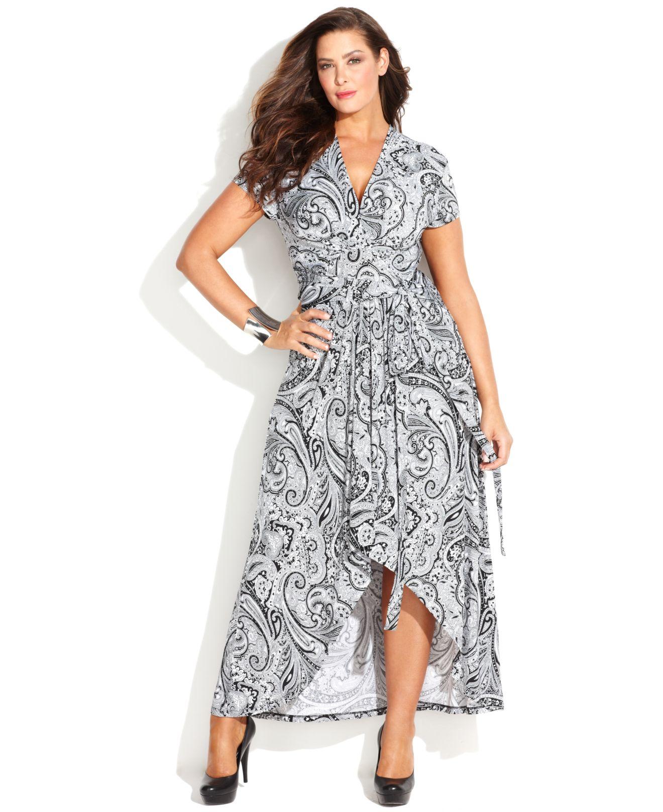 Michael Kors Michael Plus Size Printed Fauxwrap Maxi Dress in Black ...