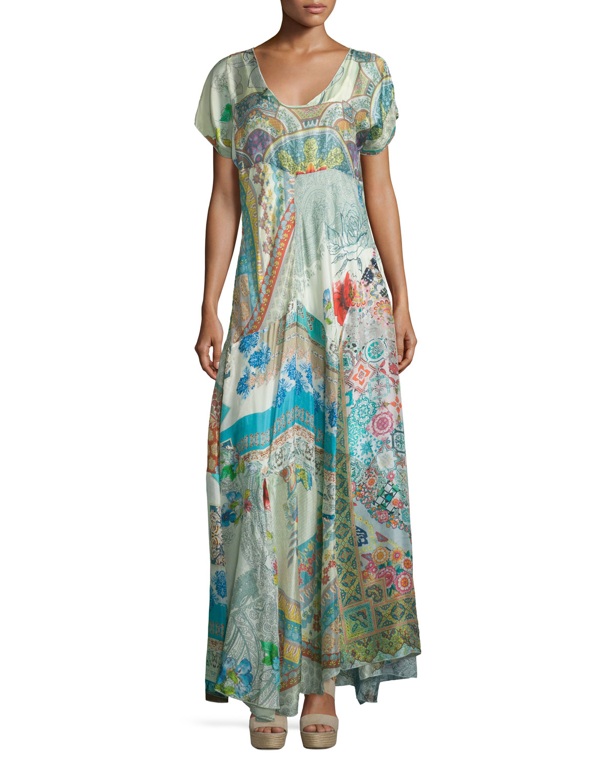 Lyst Johnny Was Leyla Short Sleeve Printed Maxi Dress In Green