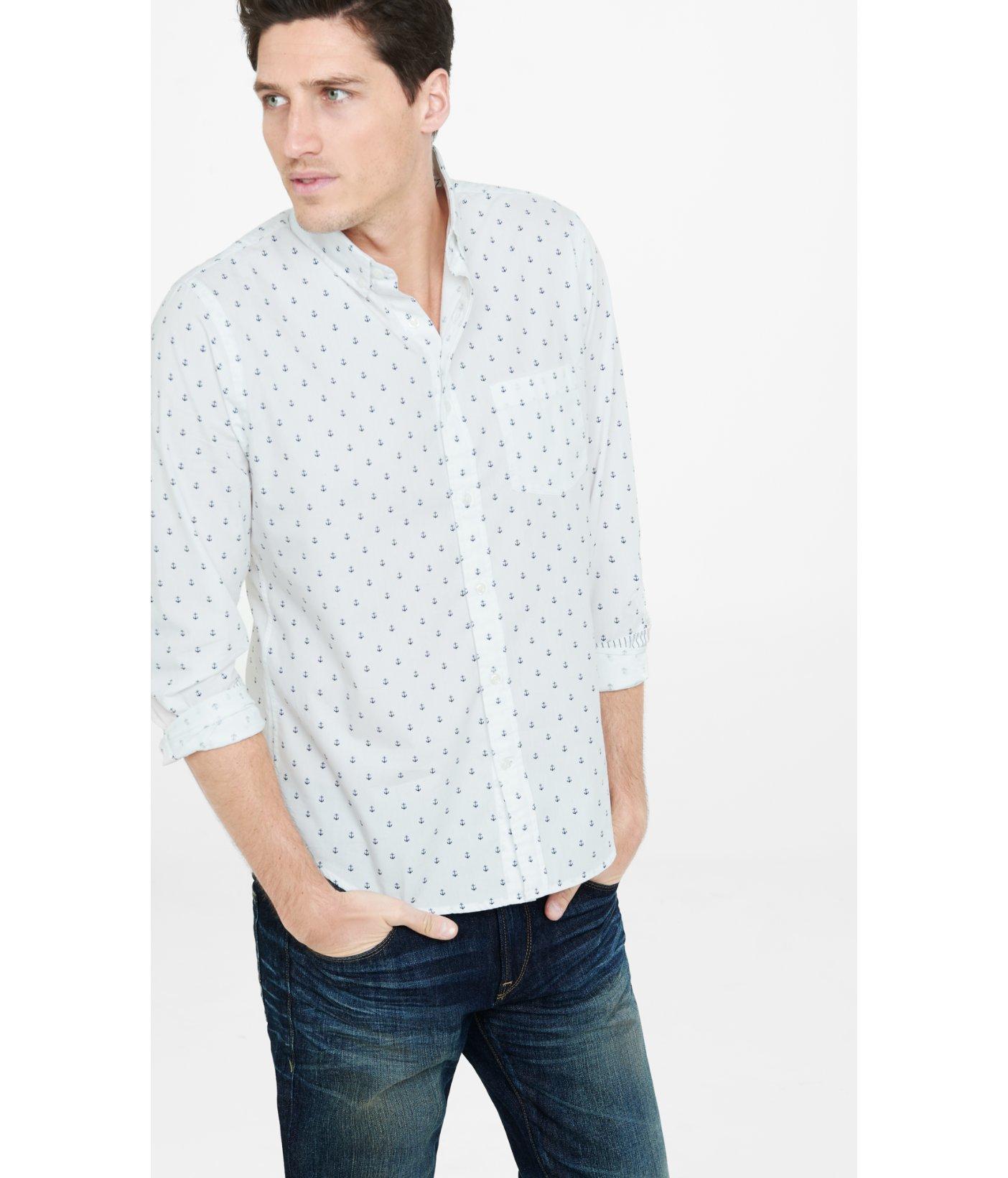 Lyst express anchor print button down collar shirt in for Button down collar dress shirts