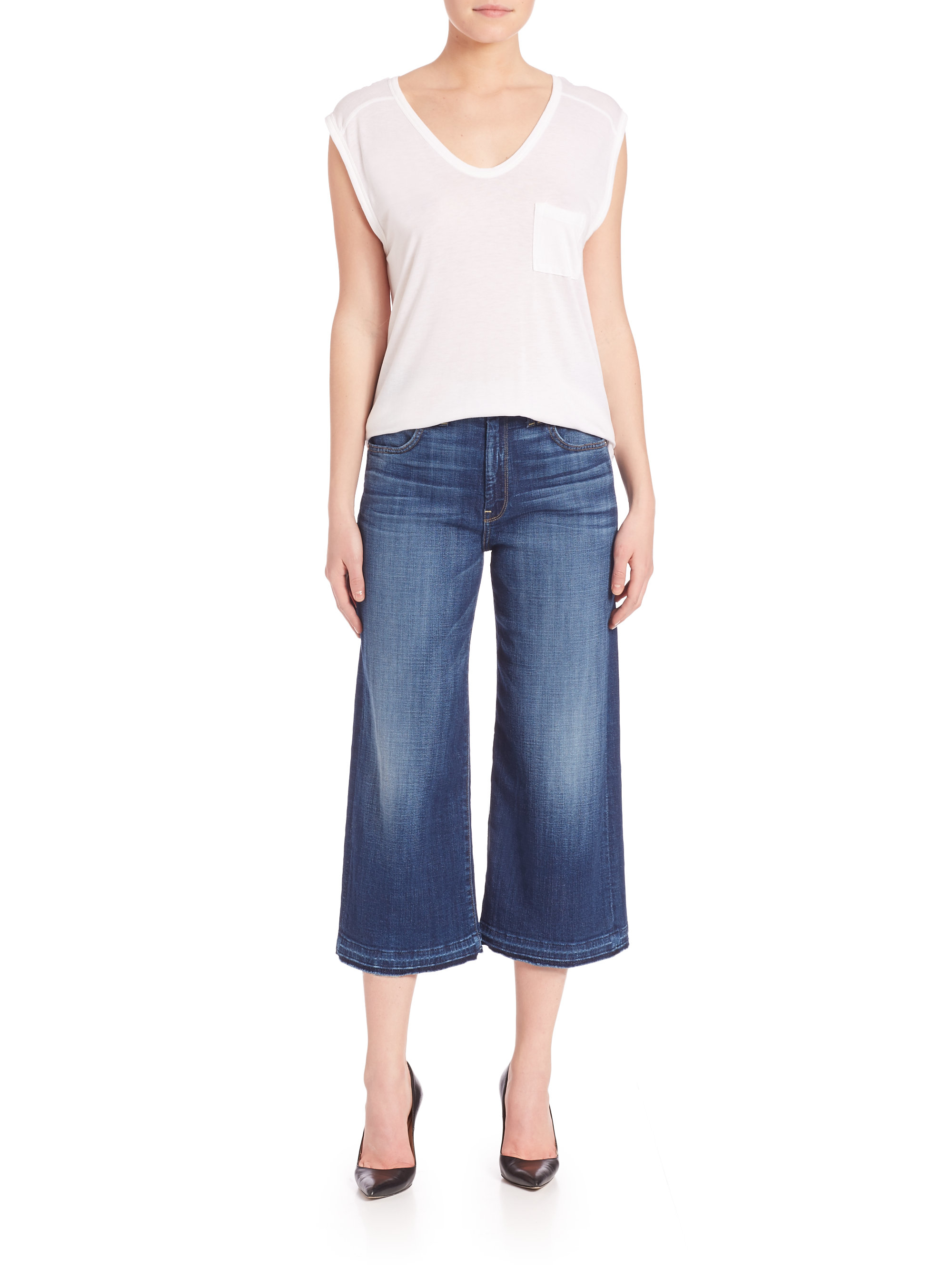 7 for all mankind Released-hem Culottes in Blue   Lyst