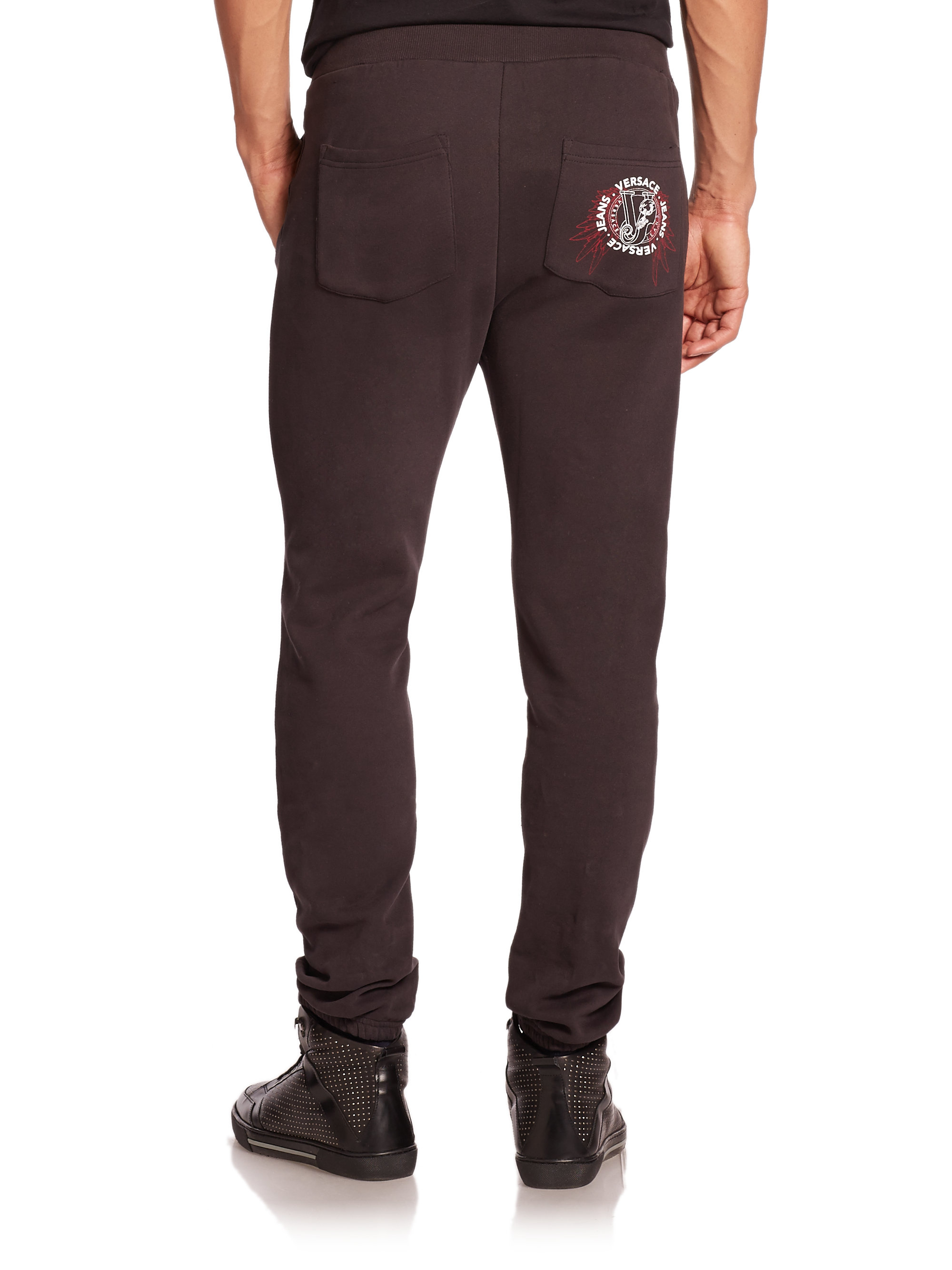 Lyst Versace Jeans Stretch Cotton Sweatpants In Black For Men