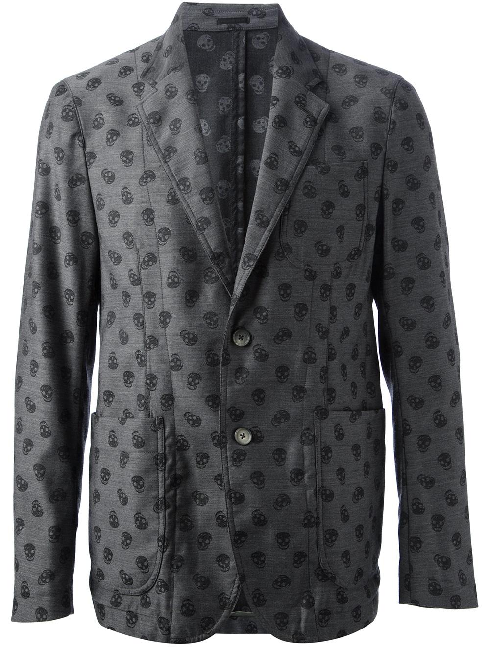 Lyst Alexander Mcqueen Skull Print Blazer In Gray For Men