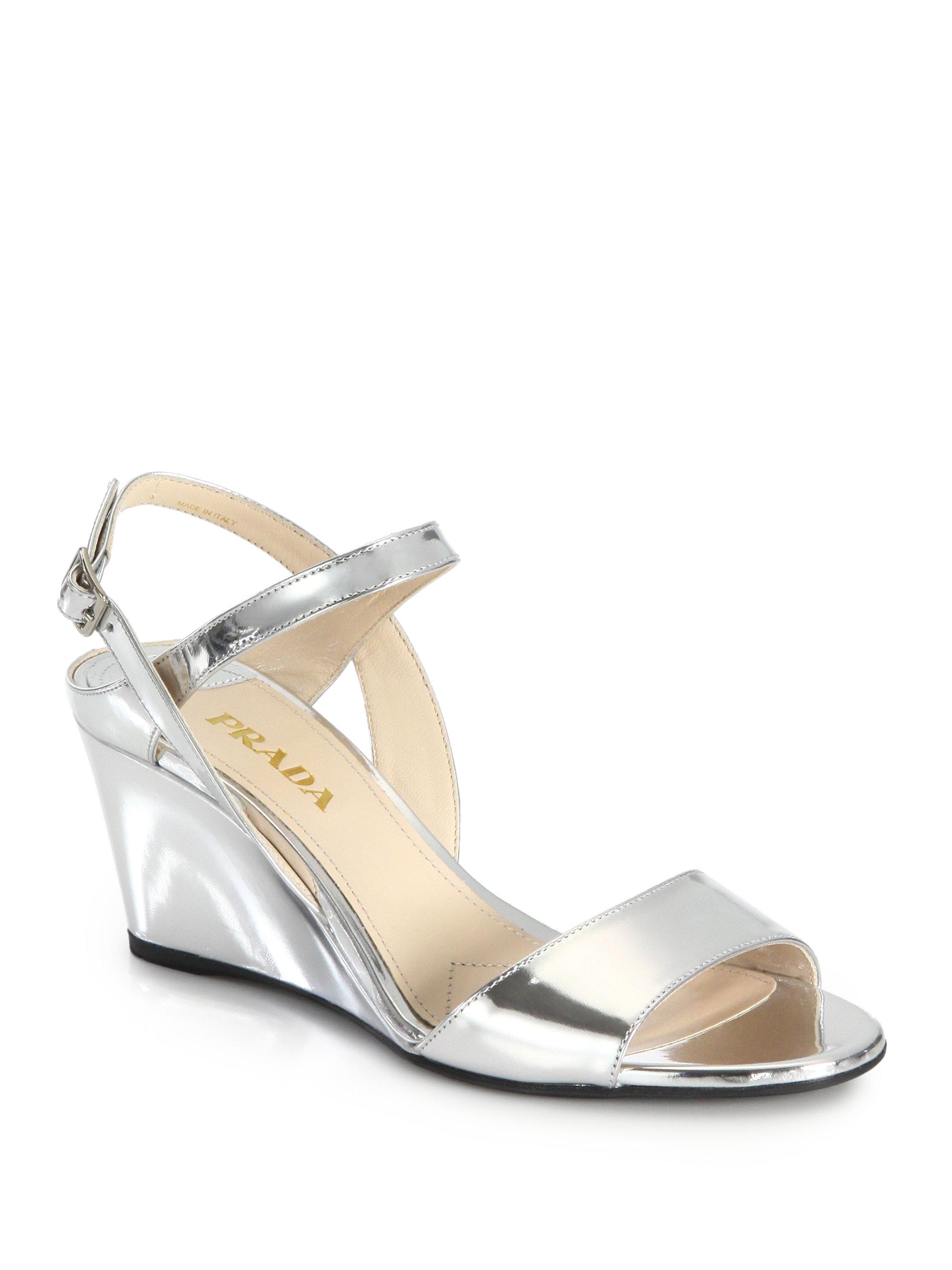 aafdb677bf6 Lyst - Prada Metallic Leather Wedge Sandals in Metallic