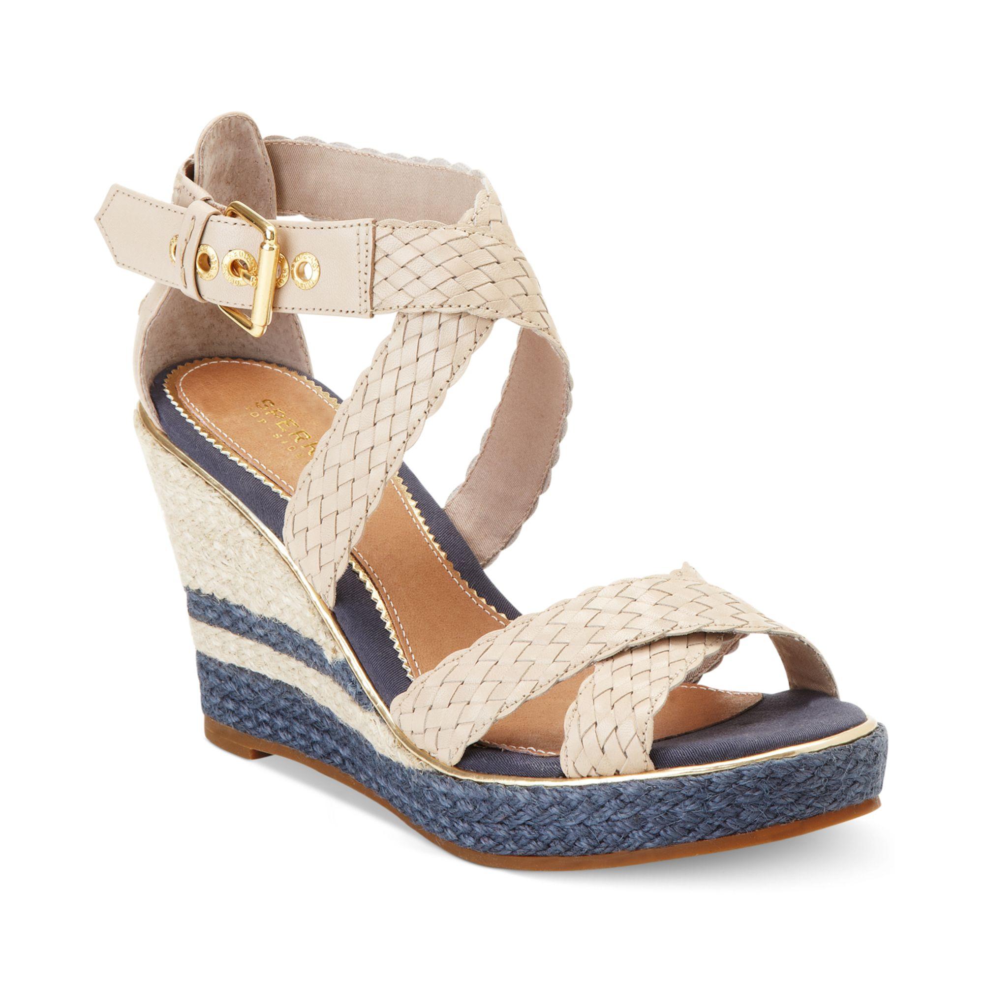 sperry top sider womens harbordale platform wedge sandals