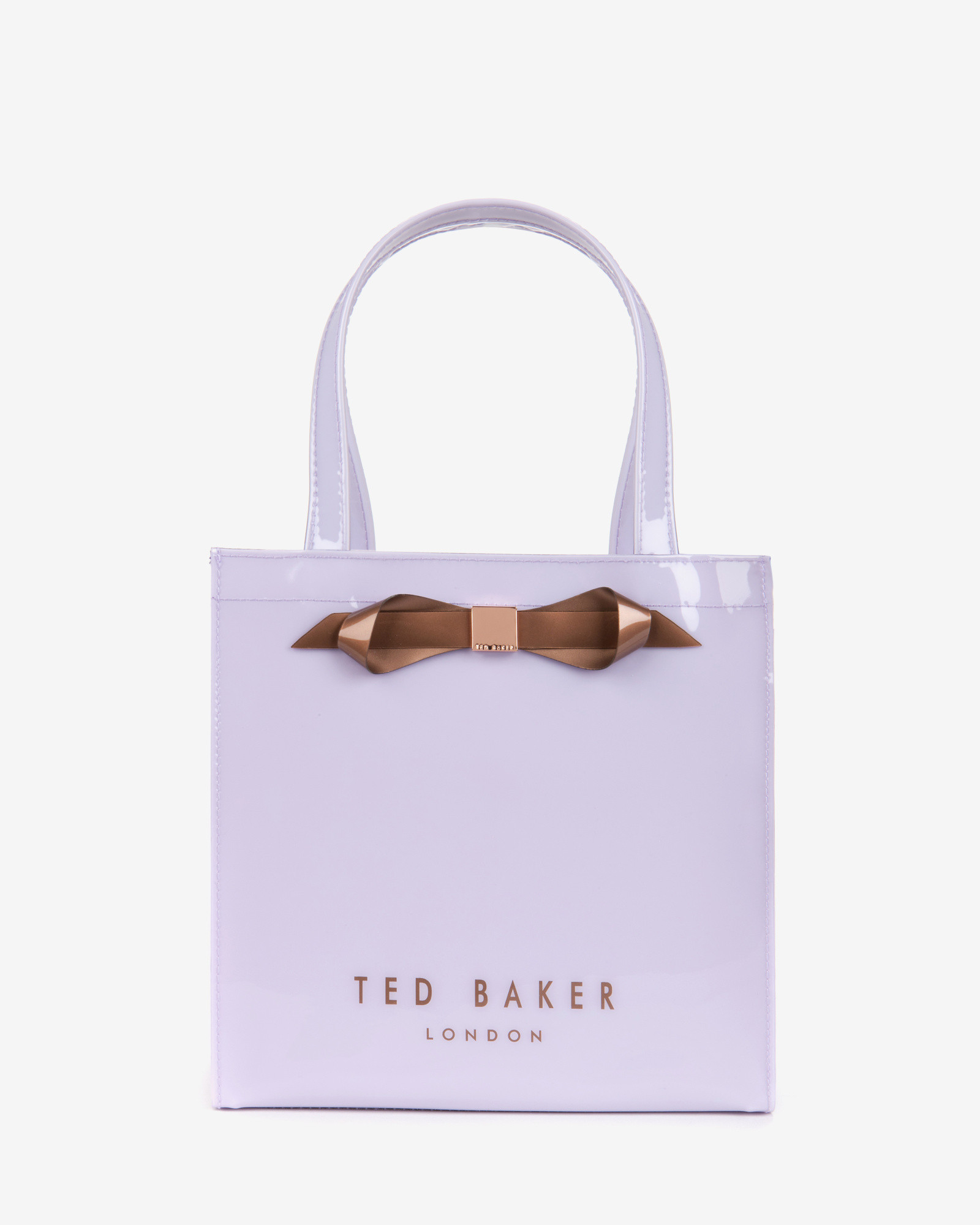 a9185a66bbf0 Lyst - Ted Baker Small Patent Bow Shopper Bag in Purple