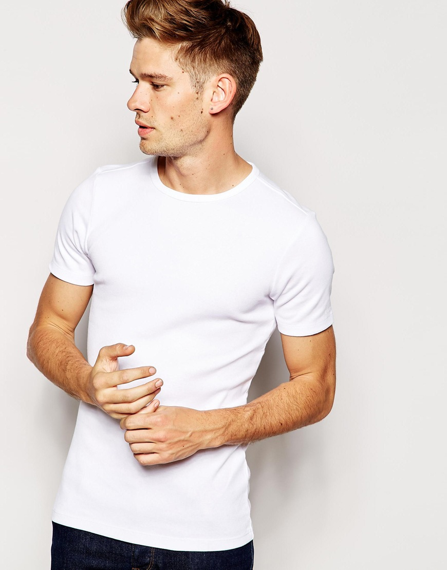 Esprit ribbed t shirt in white for men lyst for Mens ribbed t shirts