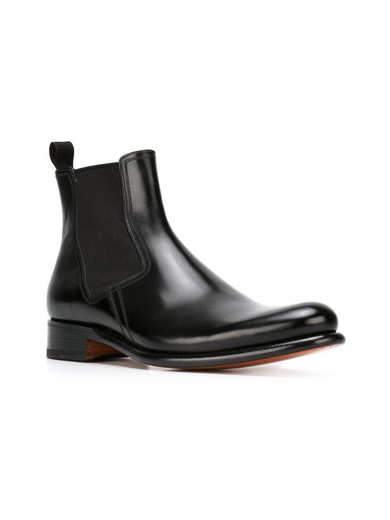 lyst santoni classic chelsea boots in black for men. Black Bedroom Furniture Sets. Home Design Ideas
