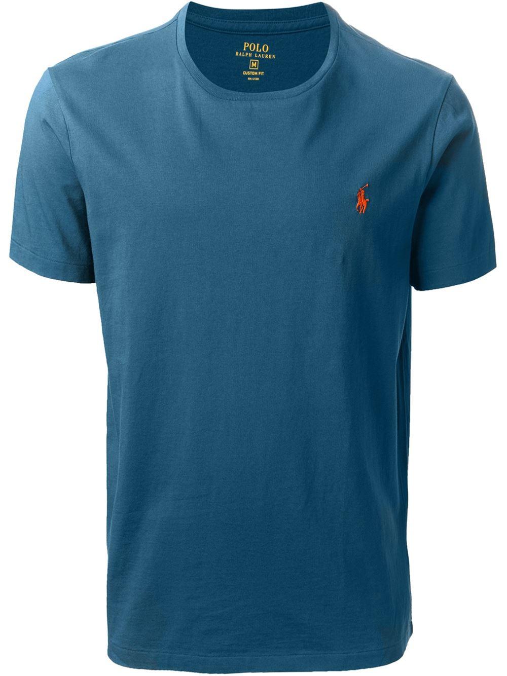Lyst polo ralph lauren custom fit t shirt in blue for men for Polo custom fit t shirts