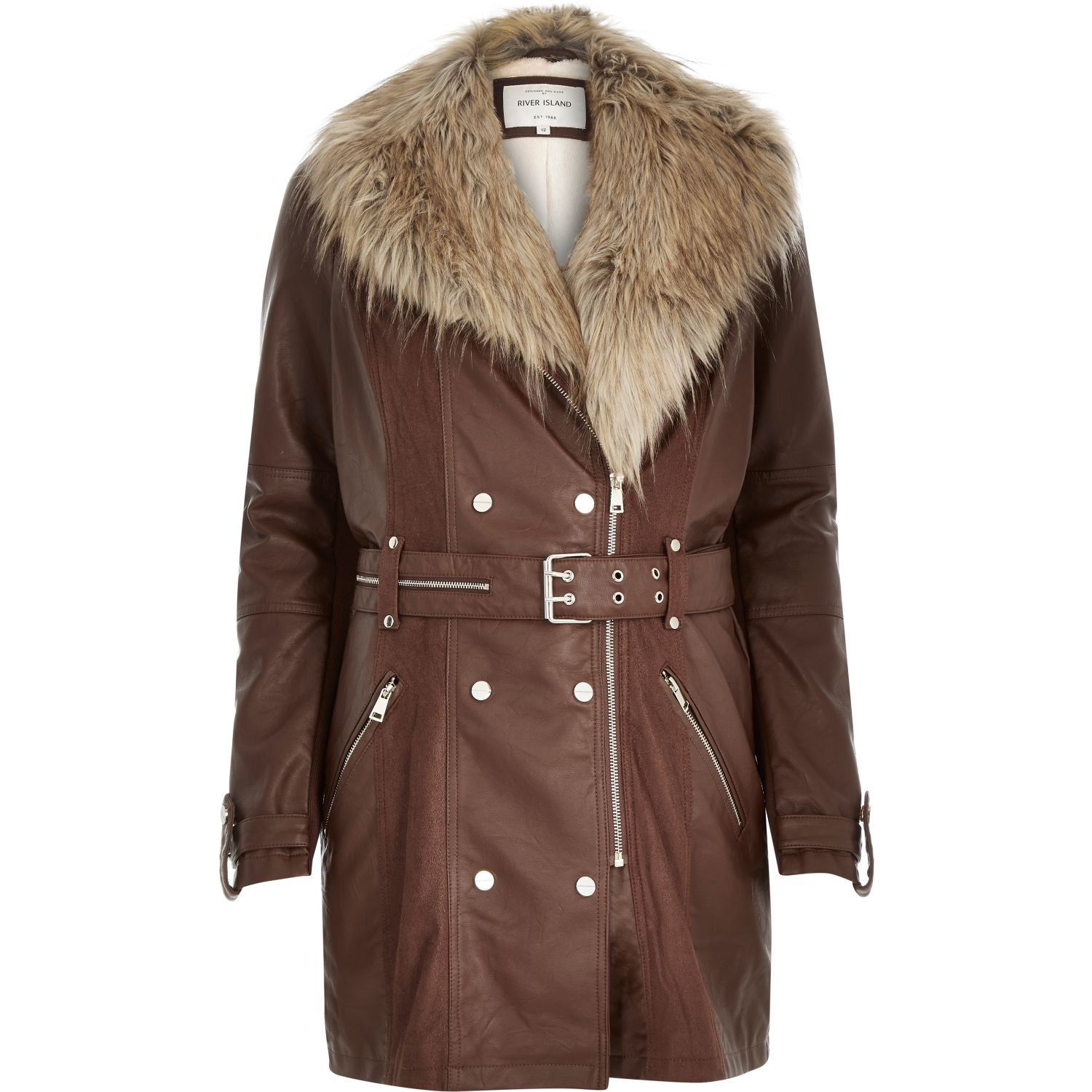 River Island Brown Belted Coat With Fur Collar