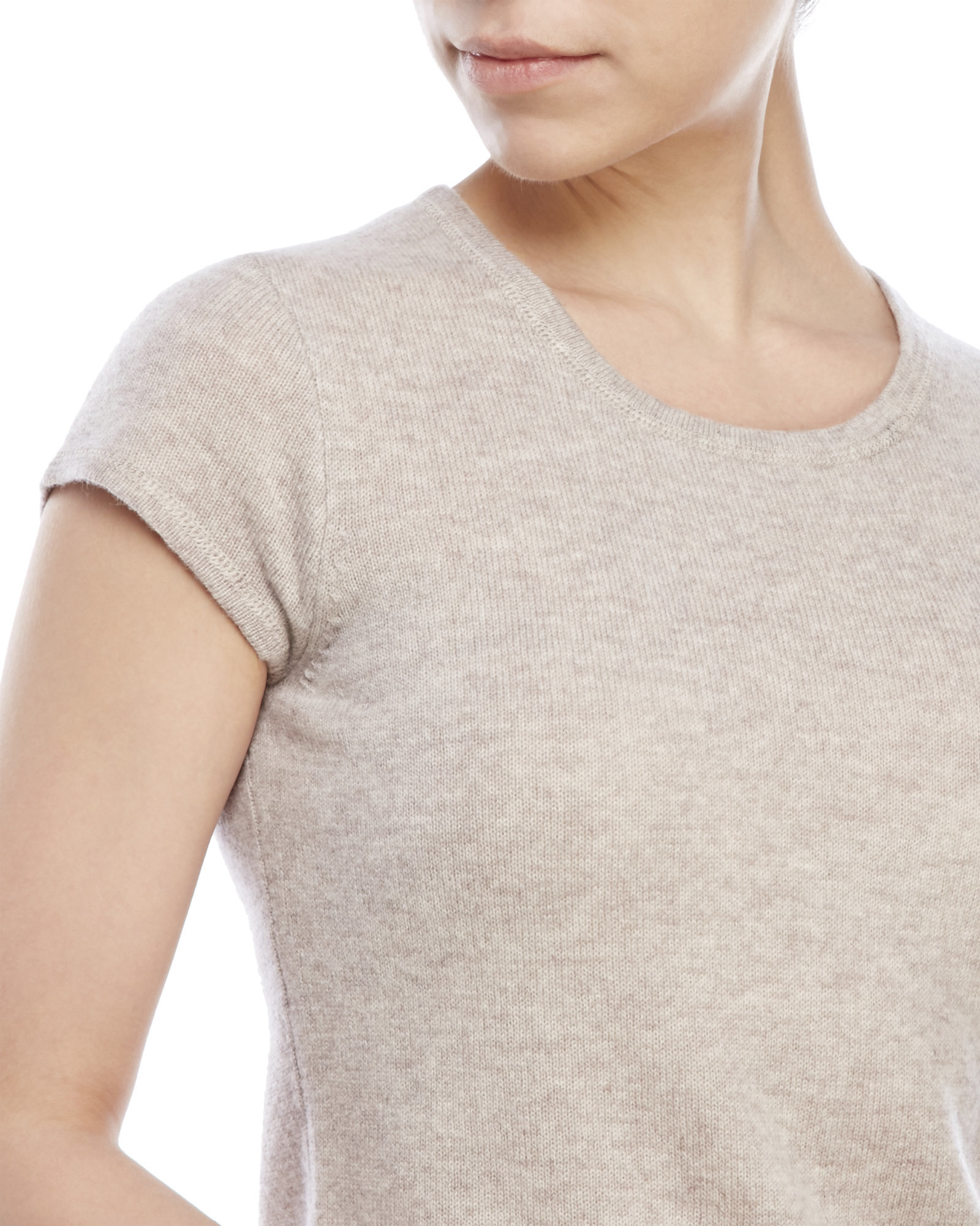 Ply cashmere Short Sleeve Cashmere Sweater in Natural | Lyst