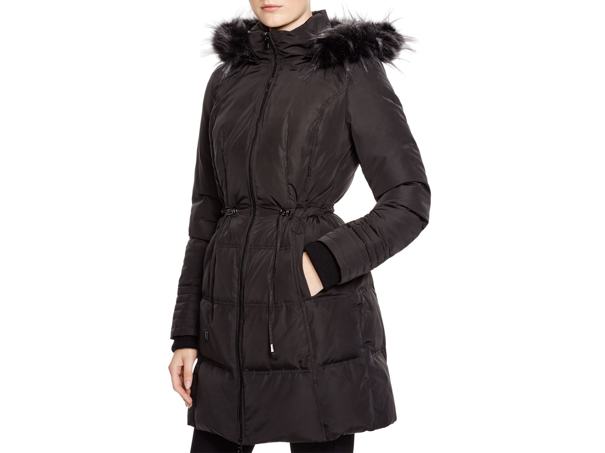 7 for all mankind faux fur trim down coat in black lyst. Black Bedroom Furniture Sets. Home Design Ideas