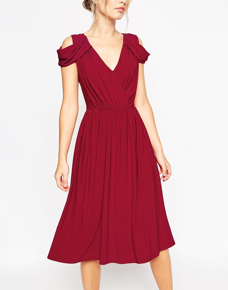 Asos Wedding Drape Cold Shoulder Midi Dress In Purple Lyst