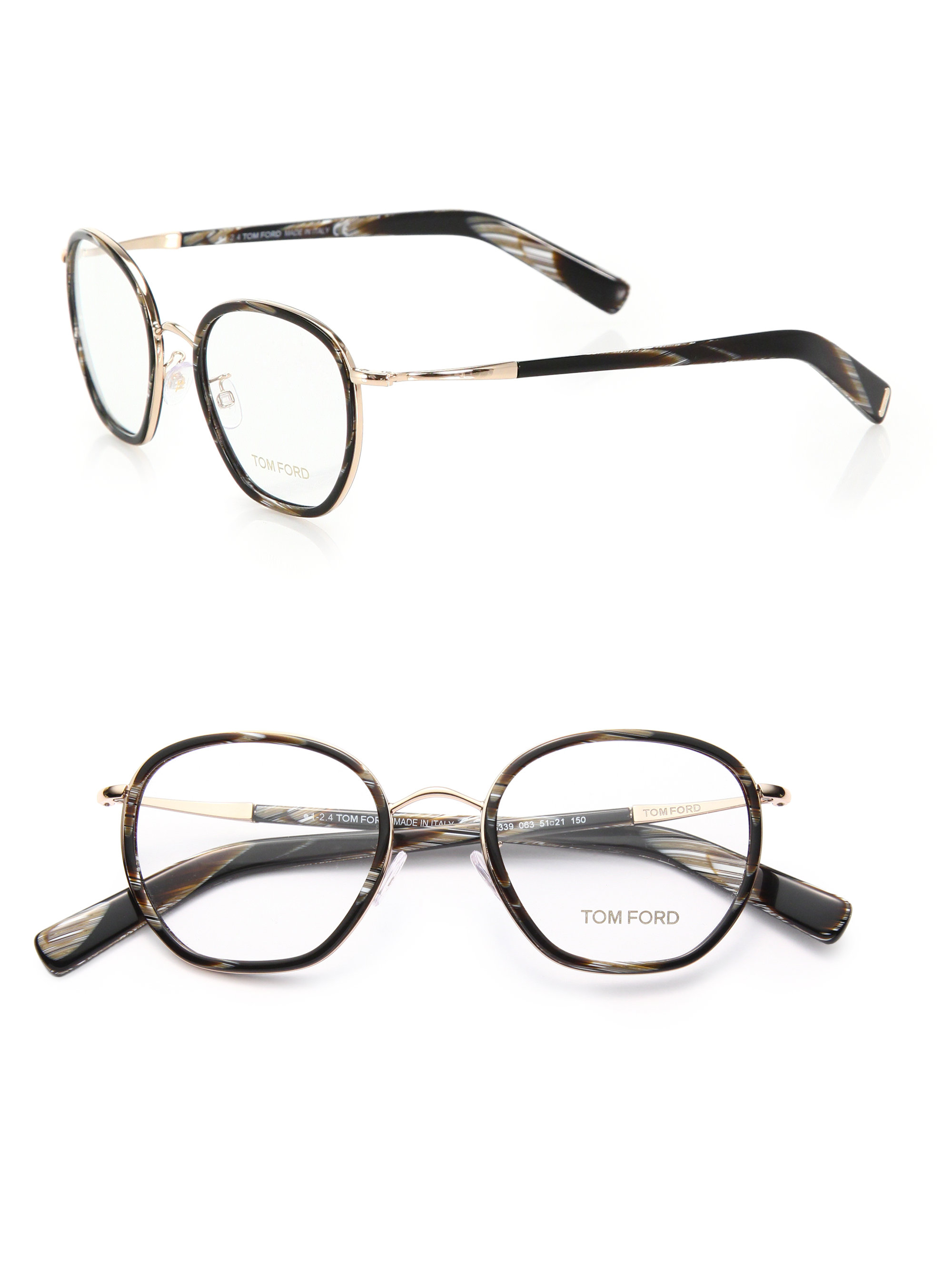 Tom ford 51mm Round Acetate & Metal Optical Glasses in ...