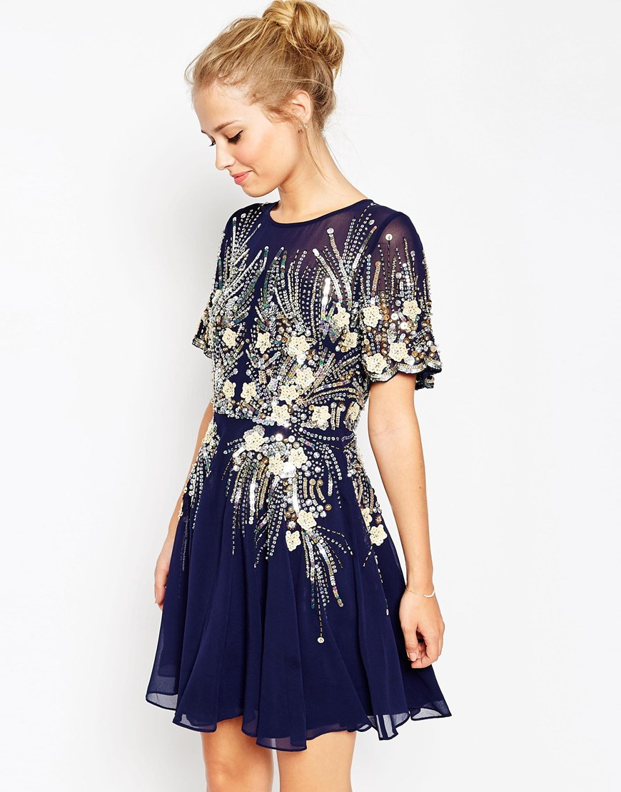 f590c4b08c Lyst - ASOS Gold And Navy Sparkle Mesh Skater Dress in Blue