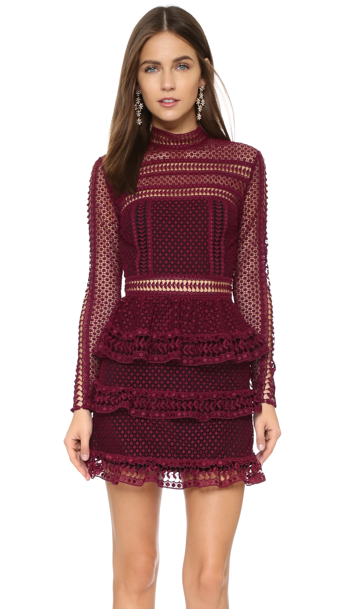 Lyst Self Portrait Lace Tier Dress In Purple