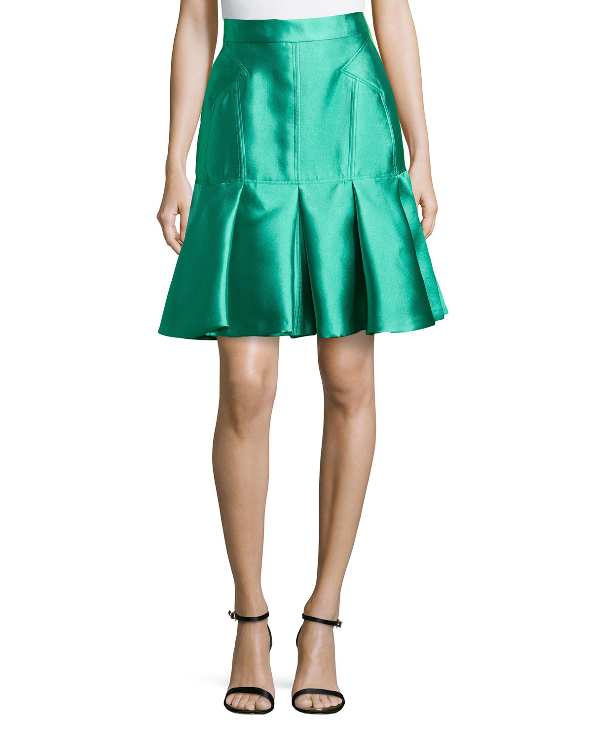 j mendel pleated scuba trumpet skirt in green lyst