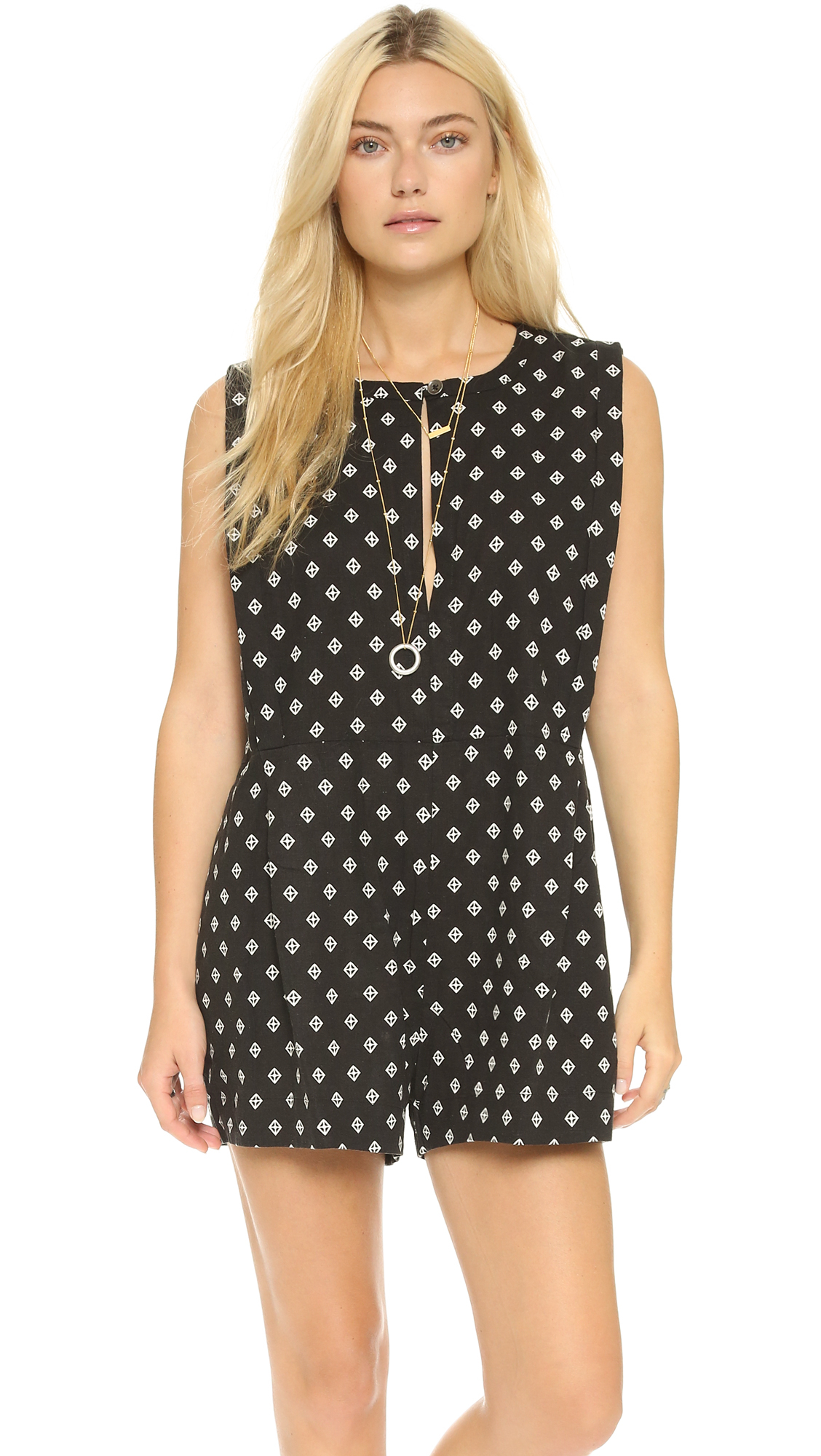 490c20c15ee8 Lyst - Free People Ashley Print Linen Blend Romper in Black