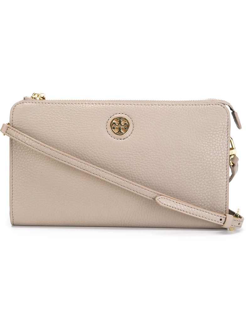 7196aa0e416 Lyst - Tory Burch  Robinson  Wallet Crossbody Bag in Gray