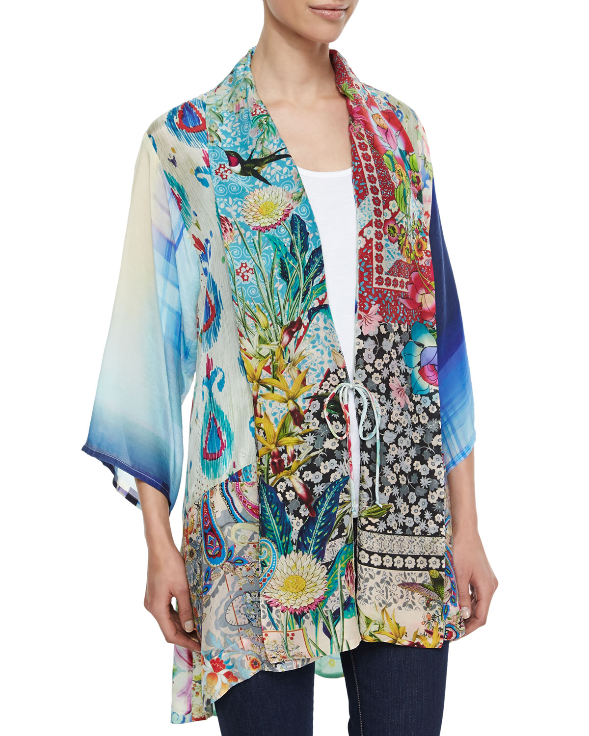 Lyst johnny was mixed print tie front silk kimono for Johnny was silk shirt