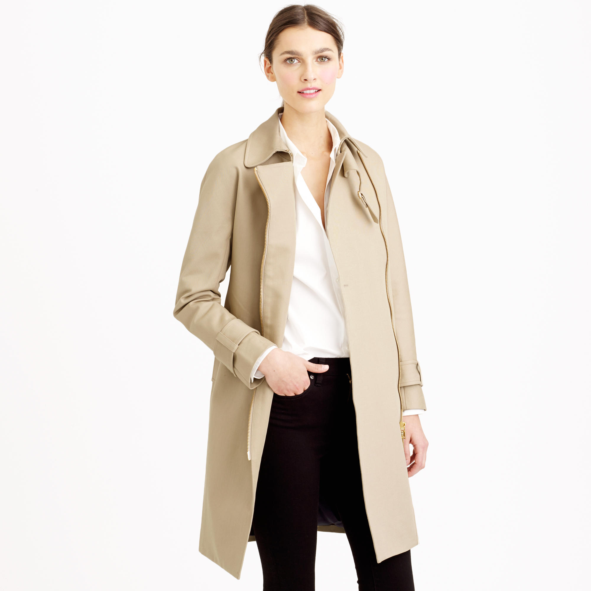911661ea469 Corporate Monday Trench Coat With Structured Knit Zip Dress