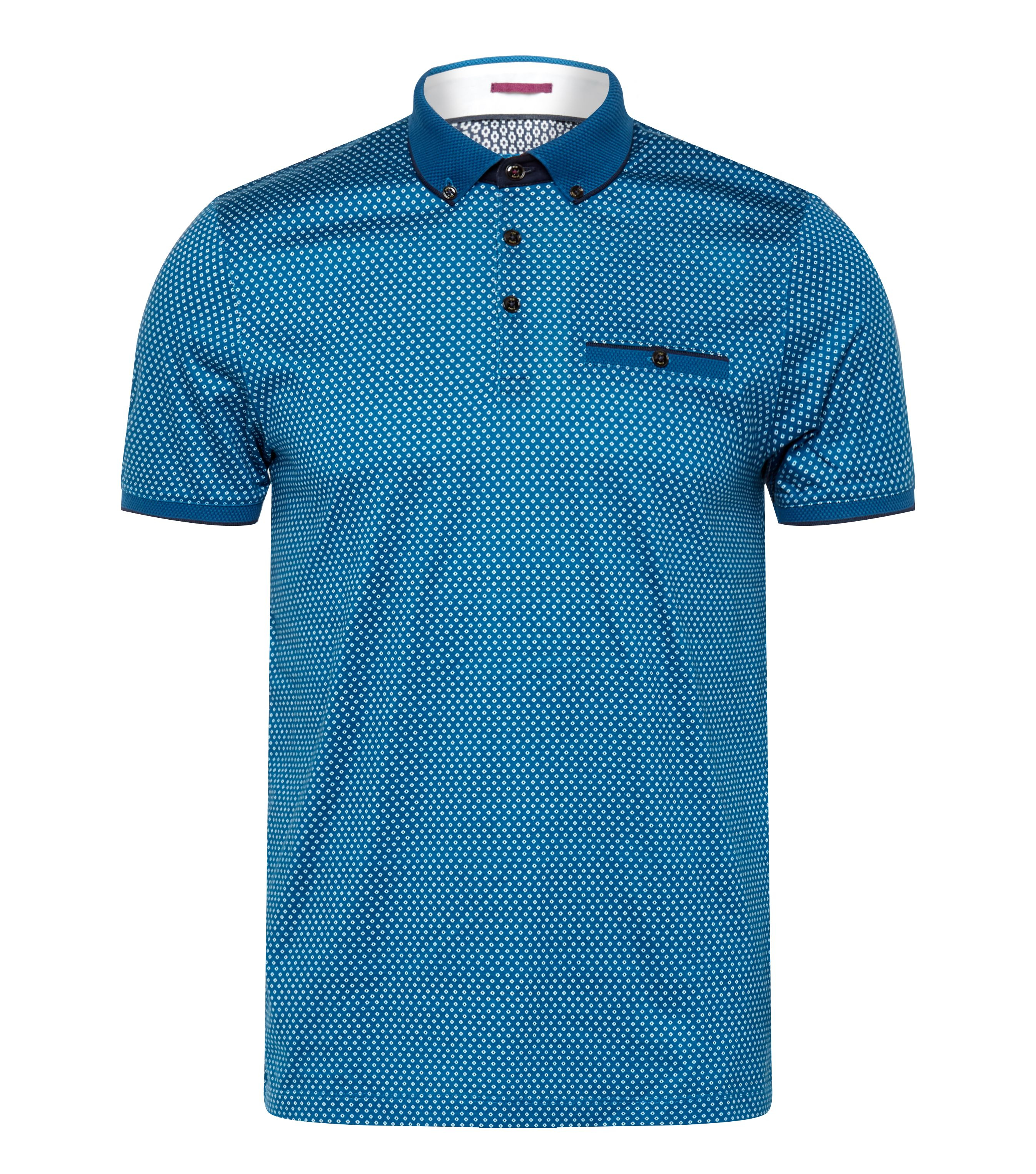 Lyst ted baker jazie geometric print polo shirt in blue for Ted baker mens polo shirts
