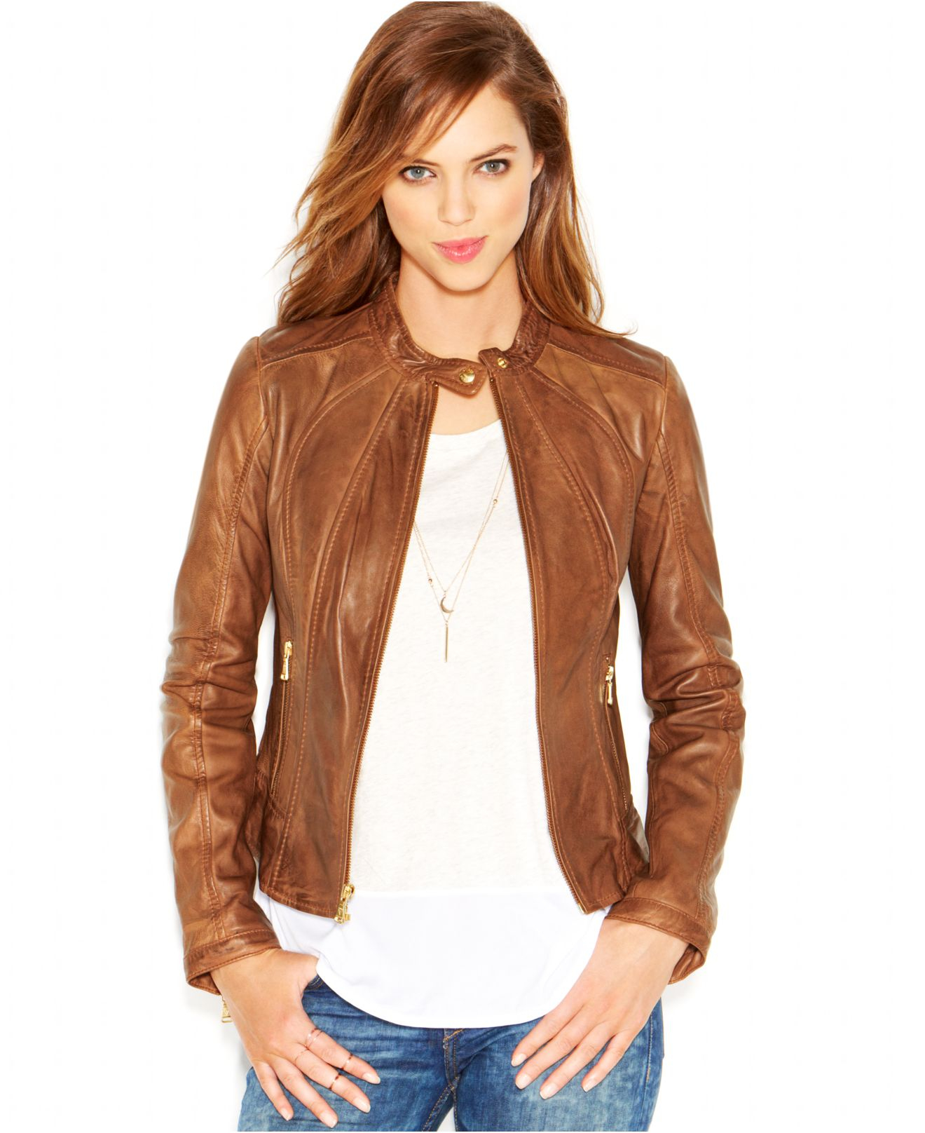 Womens Brown Moto Jacket Jacket To