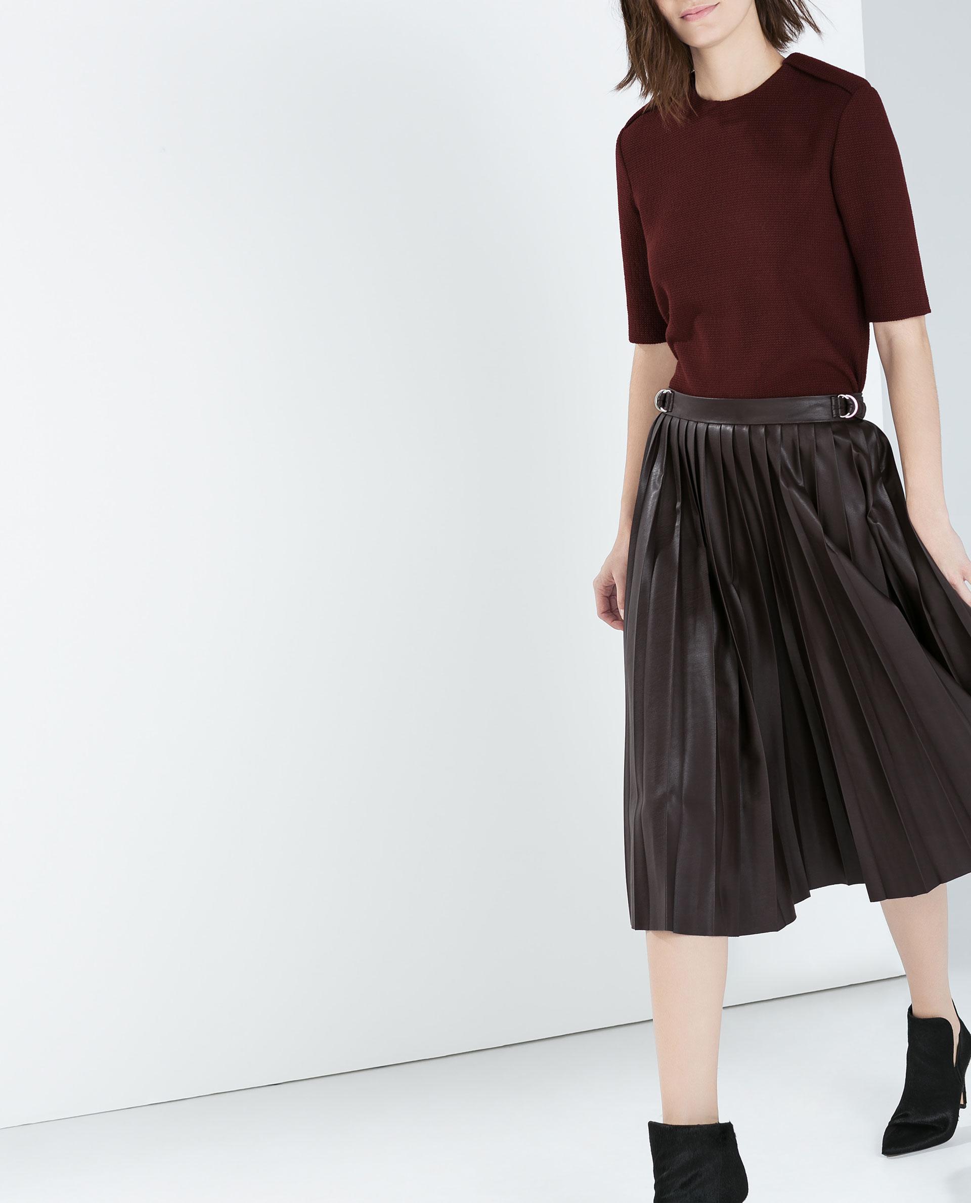 zara faux leather pleated midi skirt in purple lyst