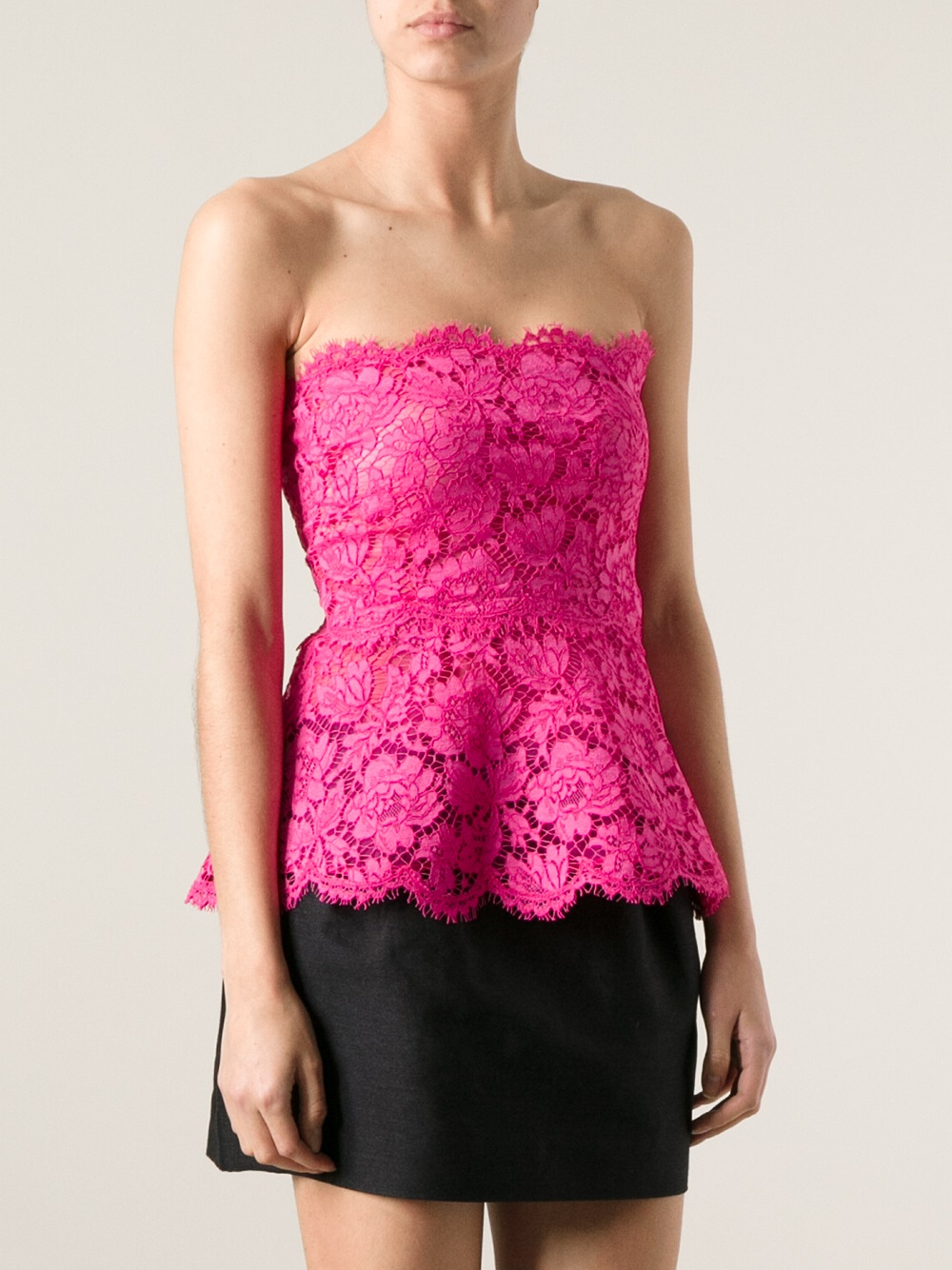 Lyst - Valentino Lace Peplum Top in Pink