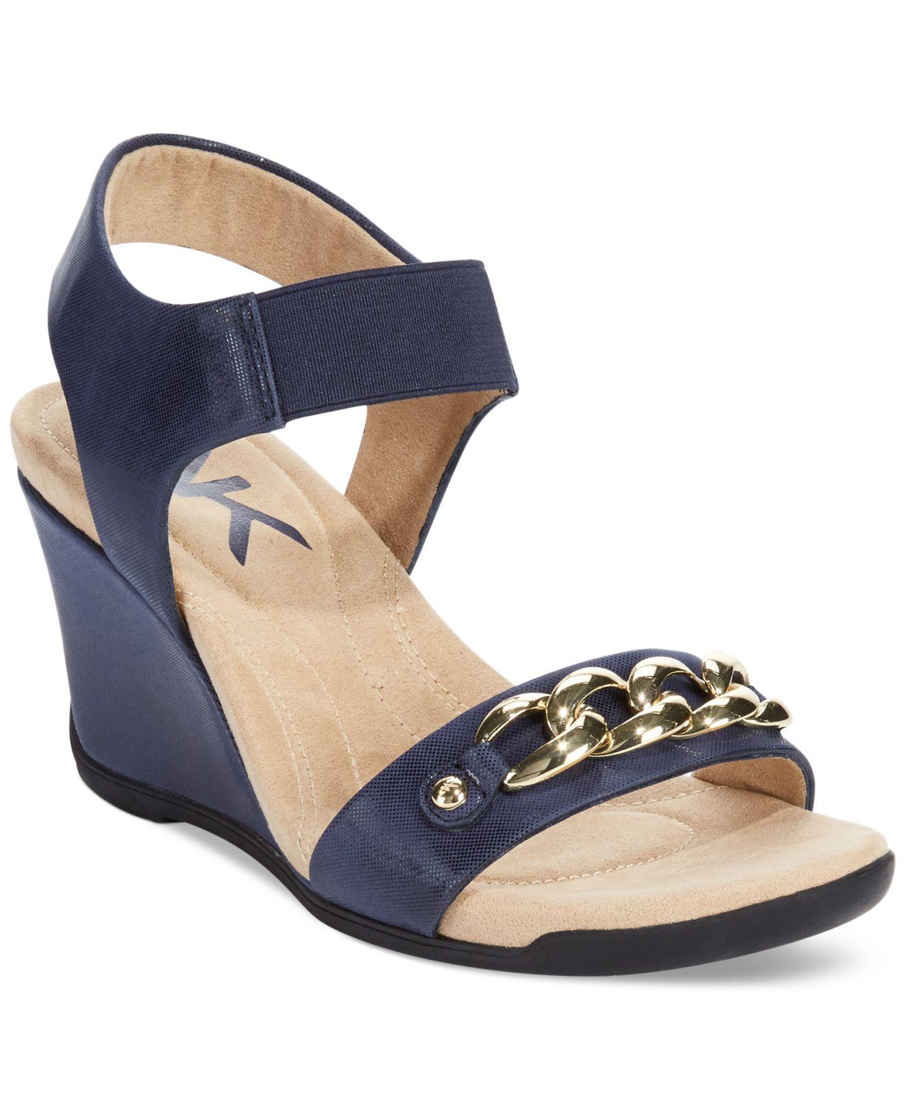 9eb61b6f74c Lyst anne klein laceyanne wedge sandals in blue jpg 1320x1616 Anne klein  sport sandals