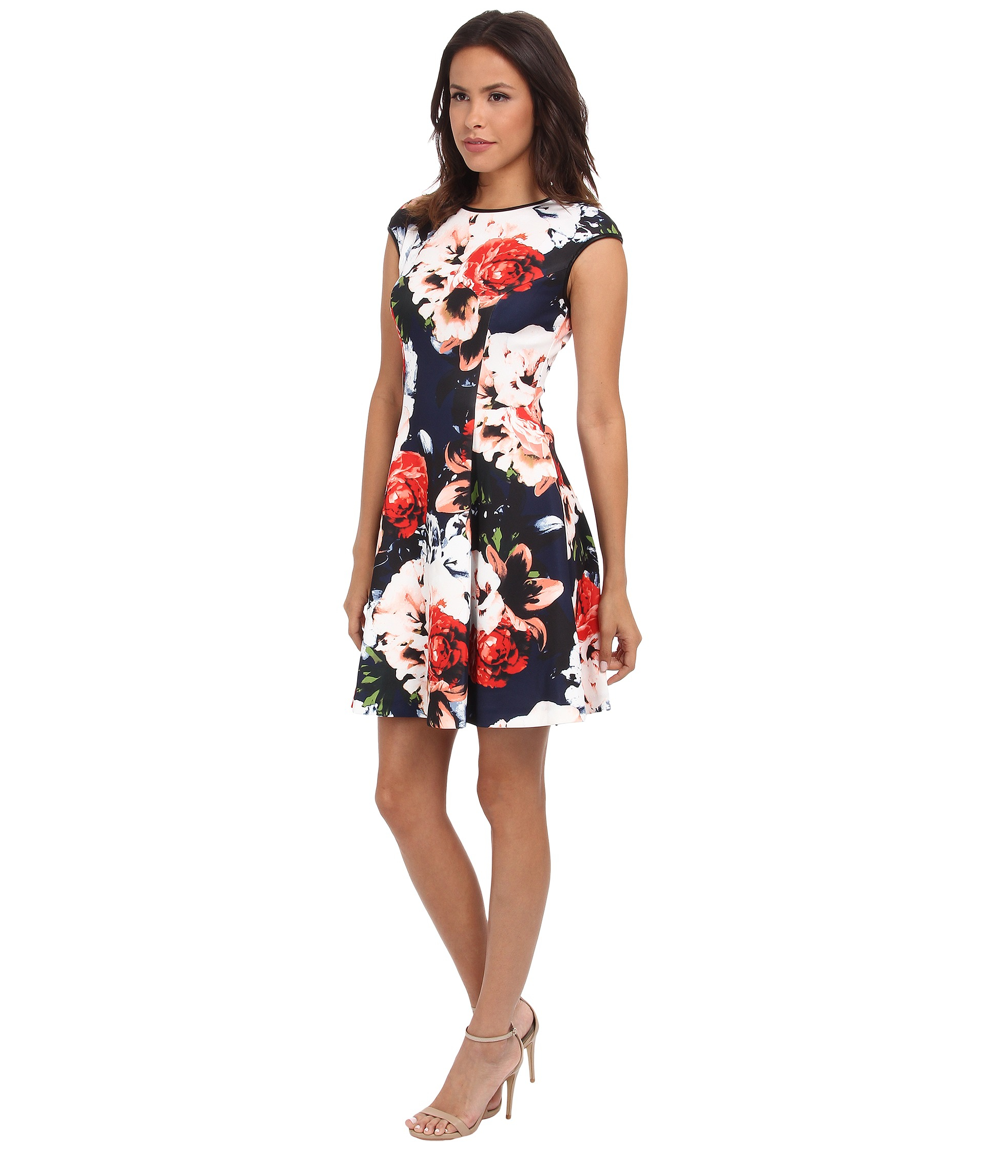 Vince Camuto Synthetic Cap Sleeve Fit Amp Flare Dress W