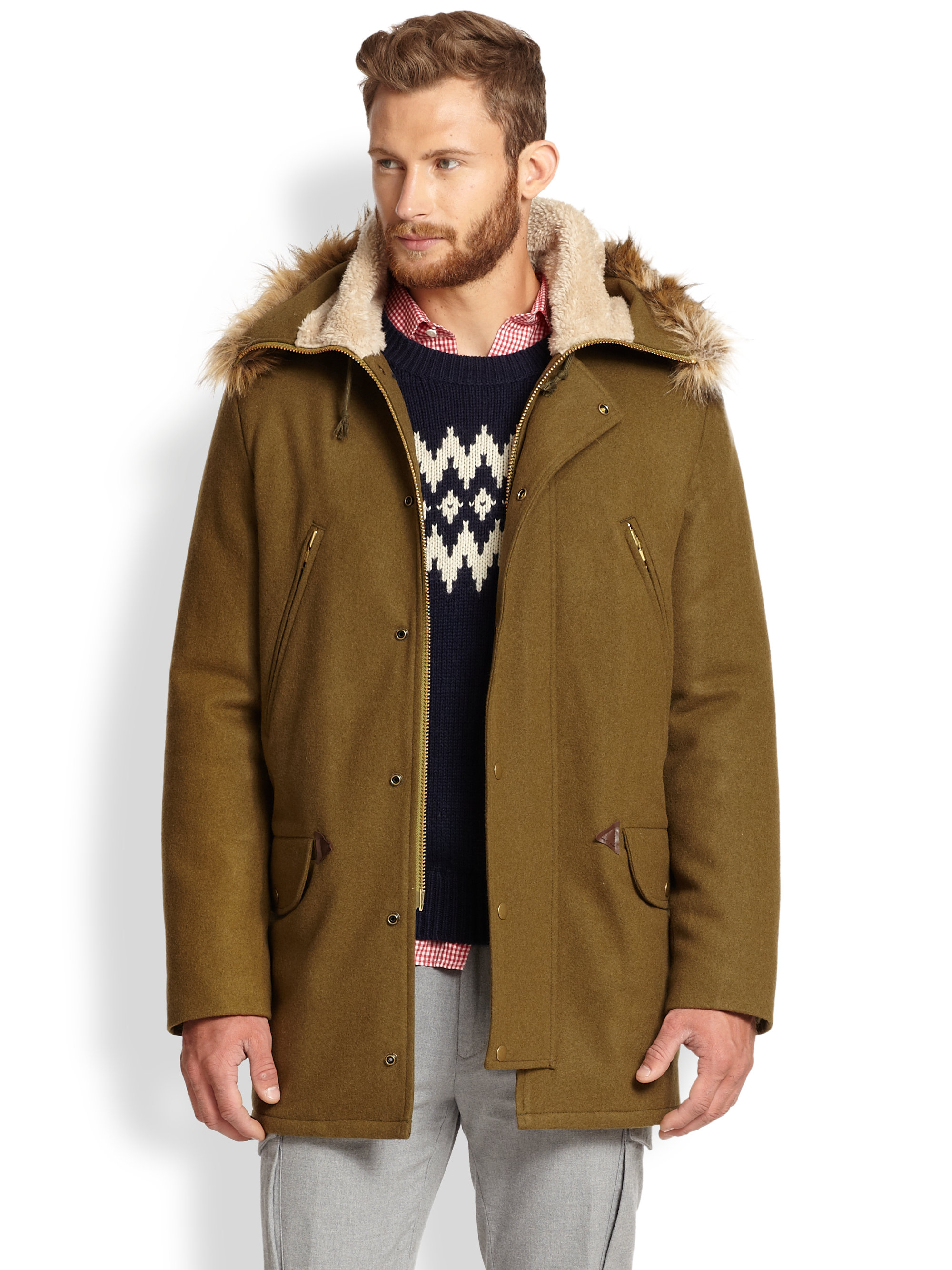 Gant rugger Woolblend Parka in Natural for Men | Lyst