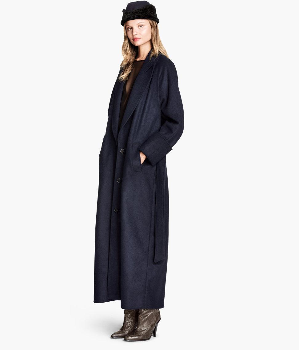 H&m Coat In A Wool Blend in Blue | Lyst