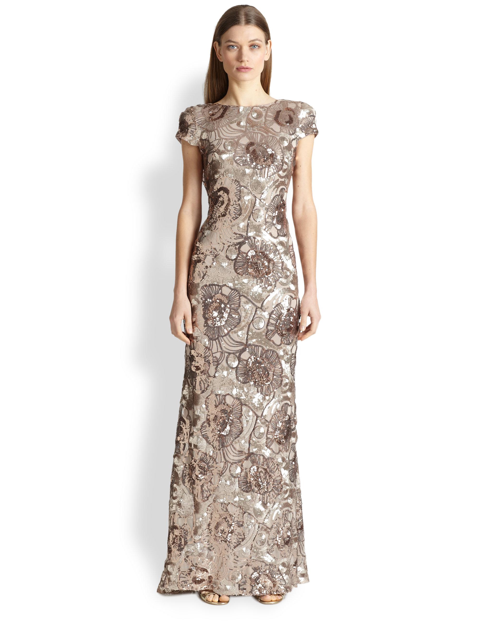 Lyst - Badgley Mischka Floral Sequin Gown