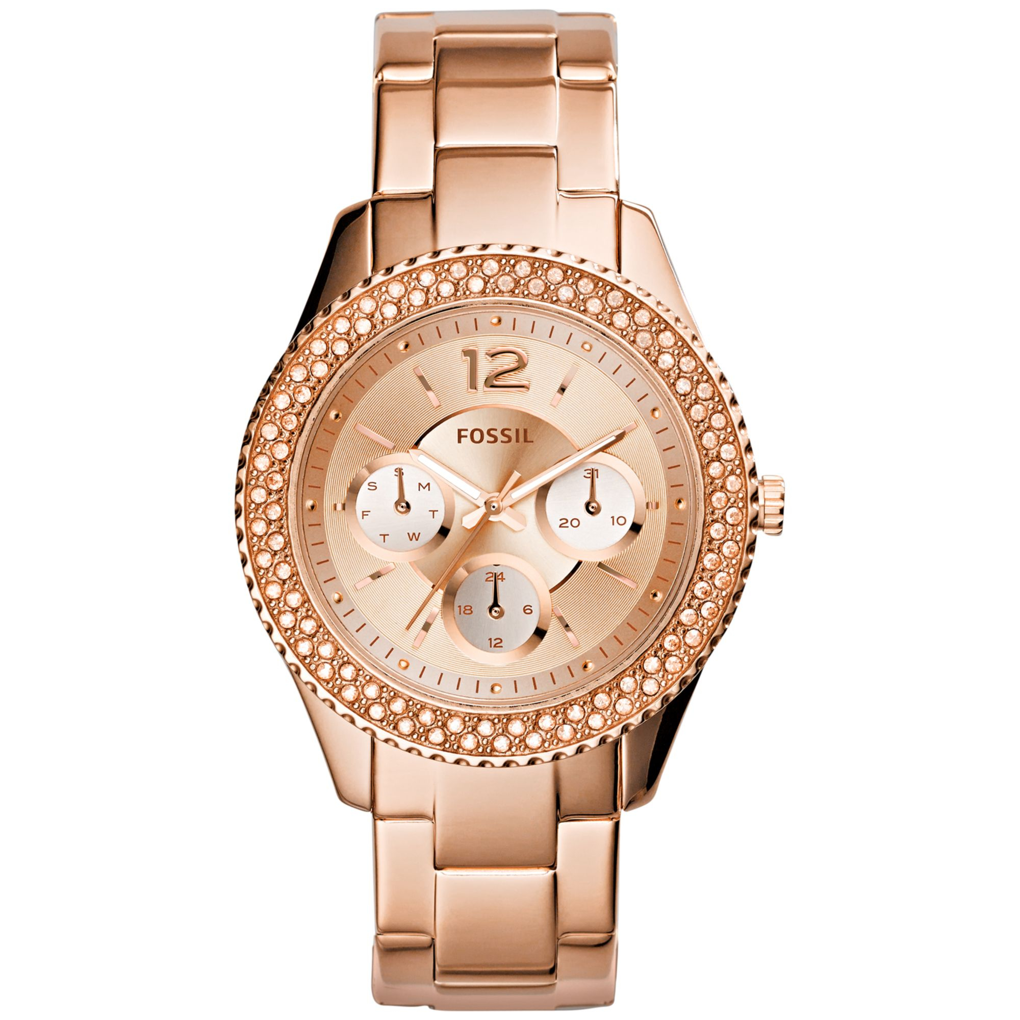 fossil women 39 s stella rose gold tone stainless steel. Black Bedroom Furniture Sets. Home Design Ideas