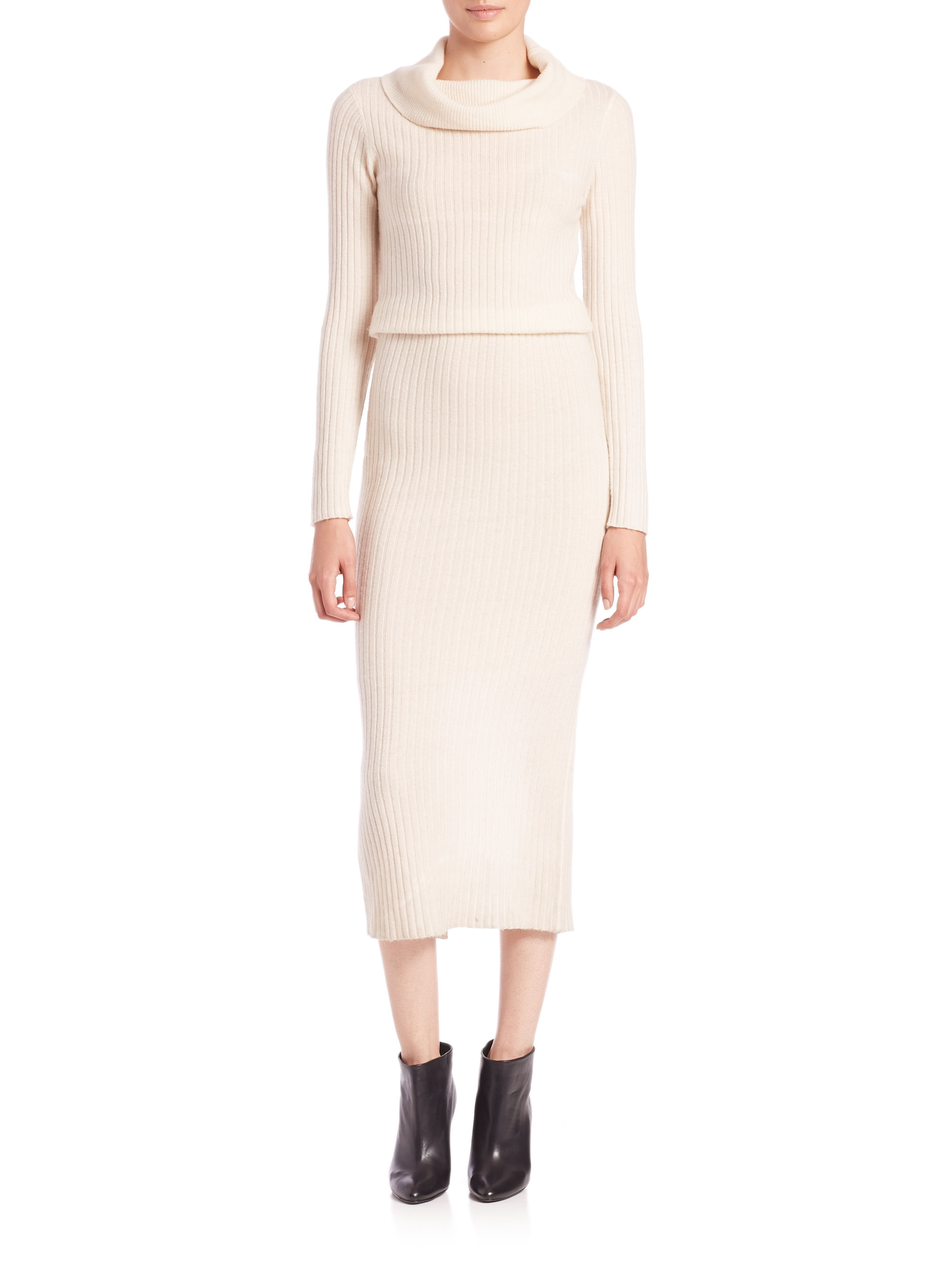 f636484c20 Lyst - Alice + Olivia Hailee Ribbed Sweater Dress in Natural