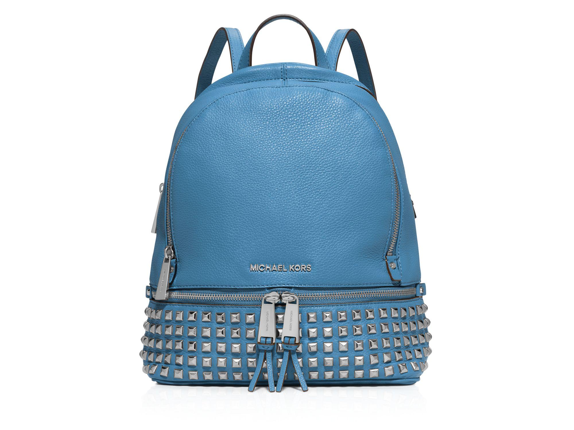 8e459f9254fc ... Michael michael kors Small Rhea Zip Studded Backpack in Blue ...