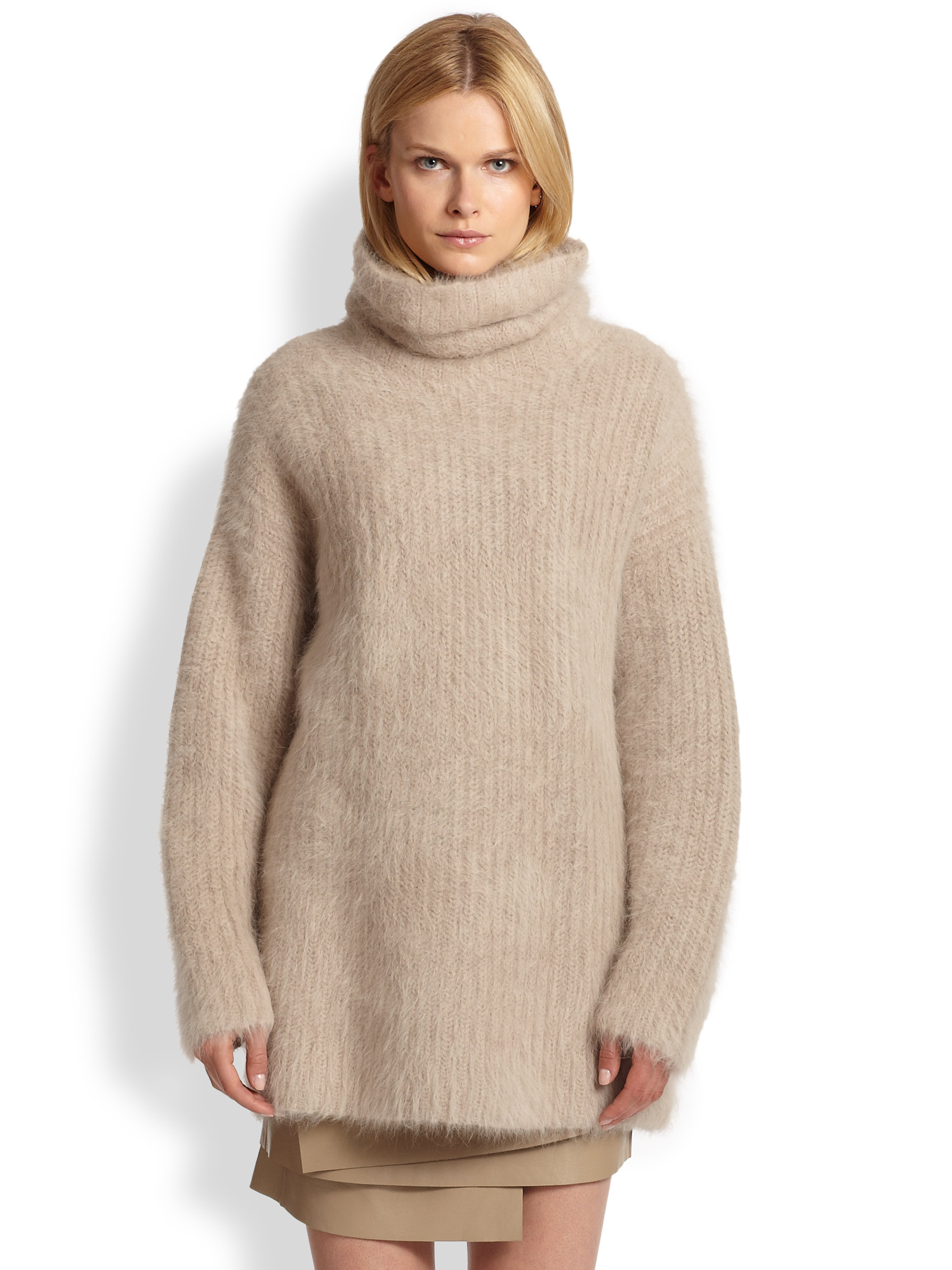 Helmut lang Veneered Angora Turtleneck Sweater in Natural | Lyst