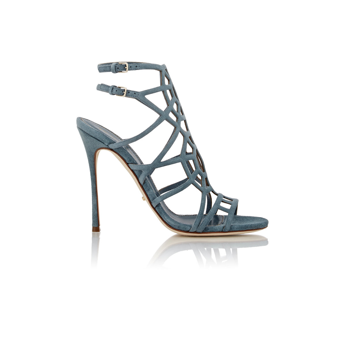 d1f041cb45c Lyst - Sergio Rossi Women s Suede Puzzle Caged Sandals in Green