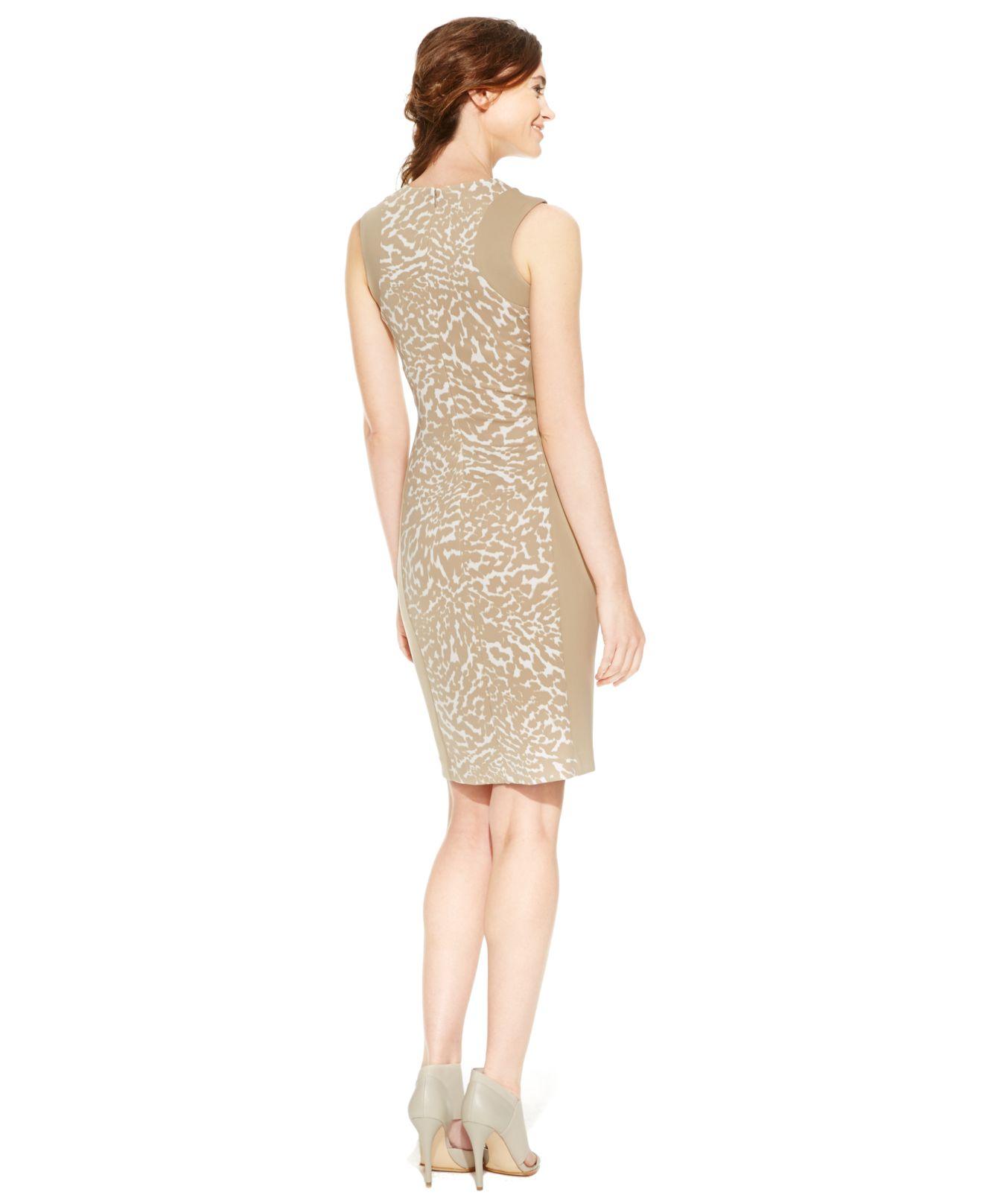 Lyst - Calvin Klein Scuba Animal-Print Sheath Dress in Natural d0f5898db