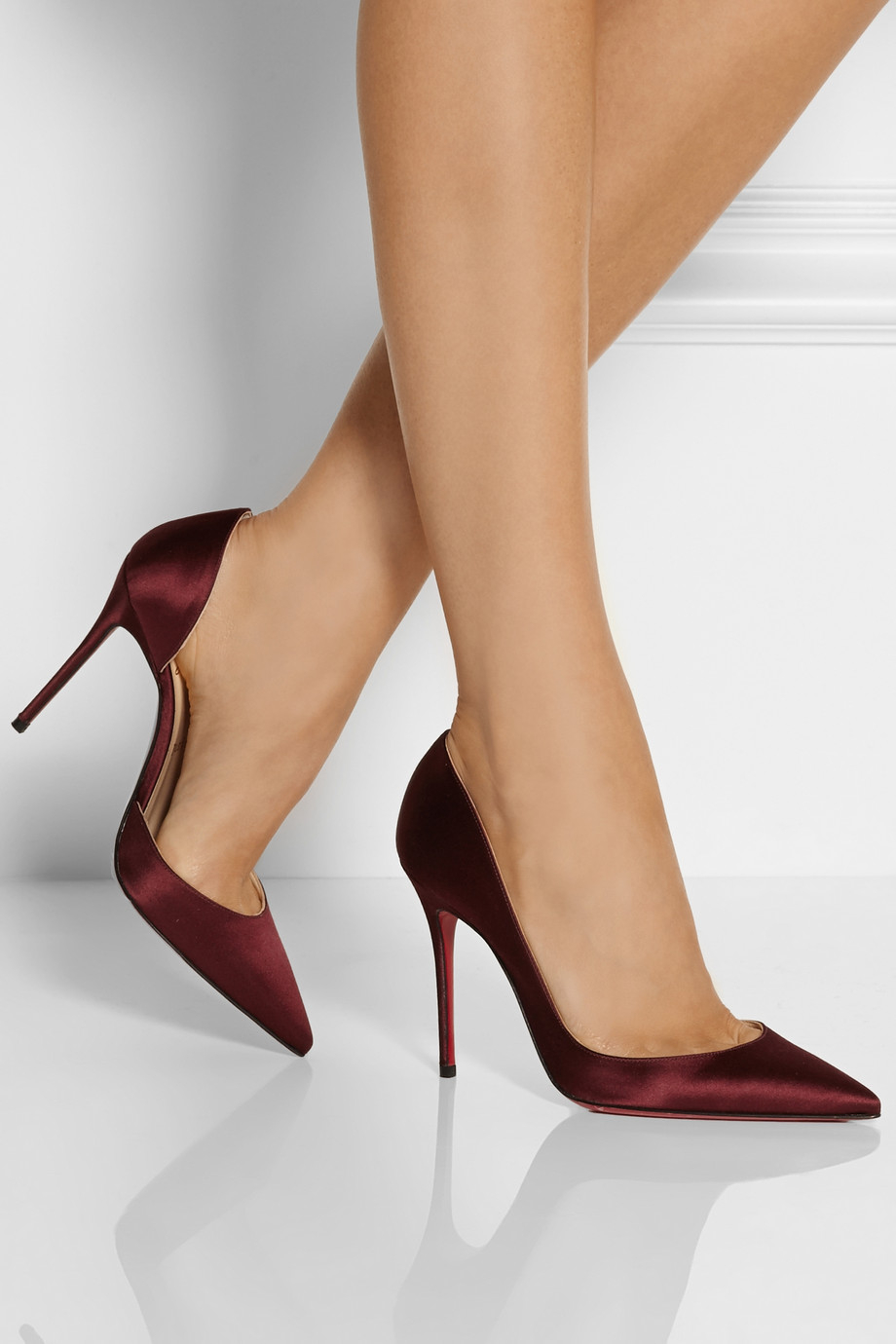 Christian louboutin Iriza 100 Satin D'Orsay Pumps in Red ...