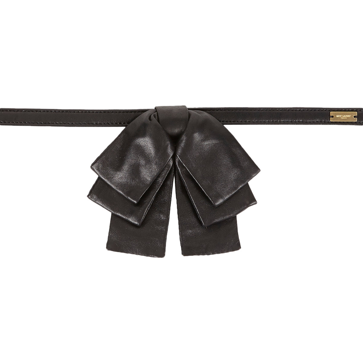 laurent leather bow tie in black for lyst