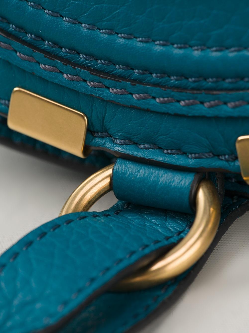 replica chloe - chloe calfskin medium marcie top handle bag laguna blue