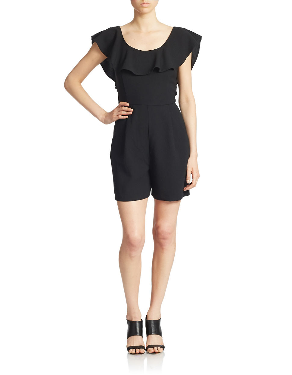 dc23aeb5605 French Connection Aro Ruffle Neck Crepe Romper in Black - Lyst