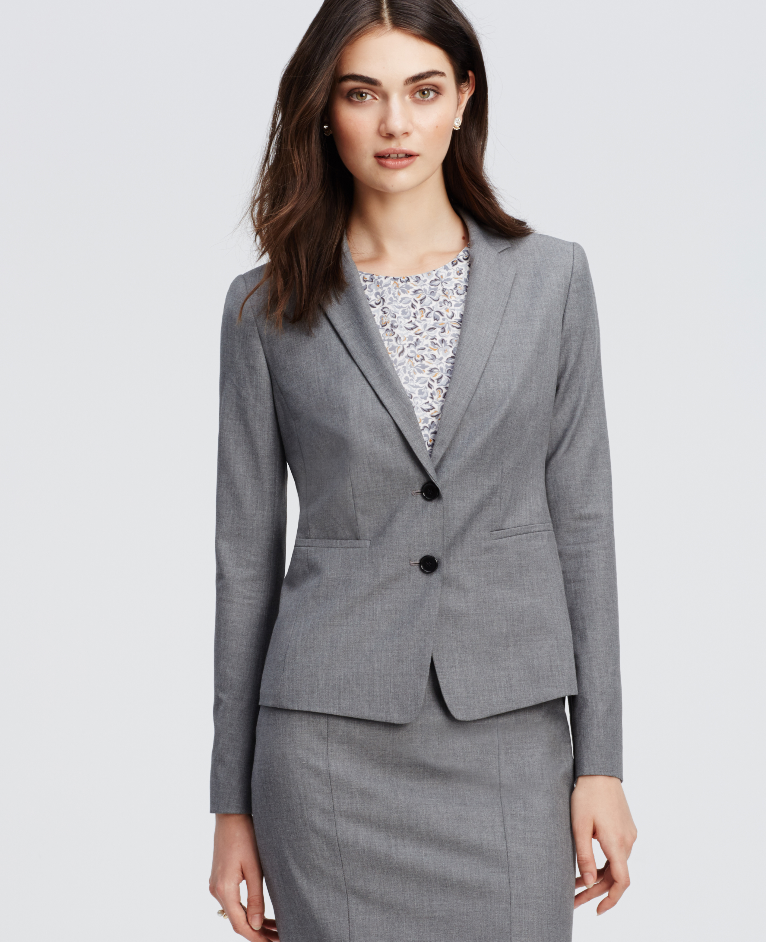 Ann taylor All-season Stretch Two Button Jacket in Gray | Lyst