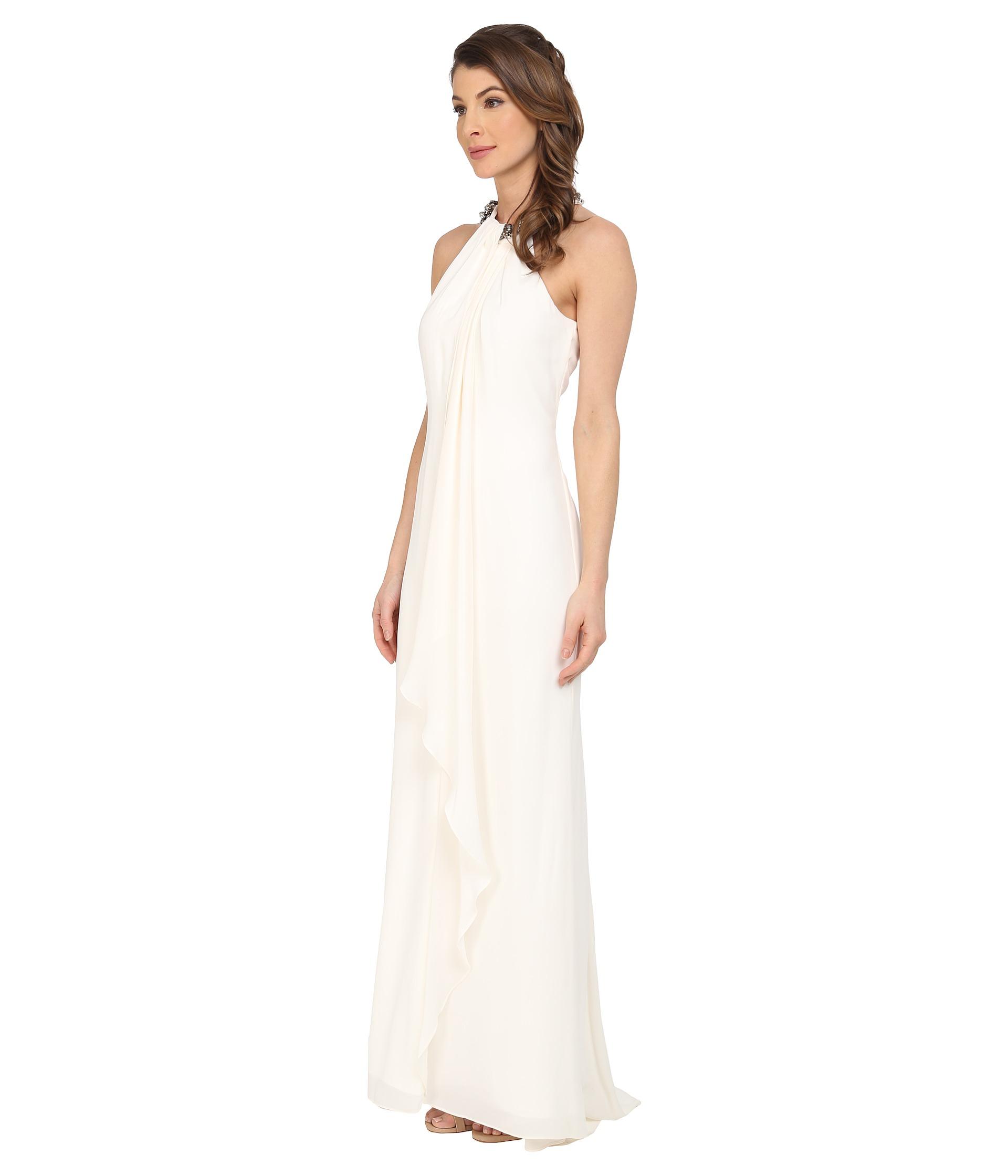Lyst Calvin Klein Halter Neck Draped Gown Cd5b1p8w In Natural