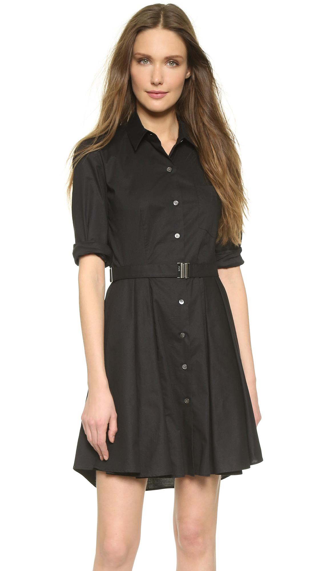 Theory black and white shirt dress