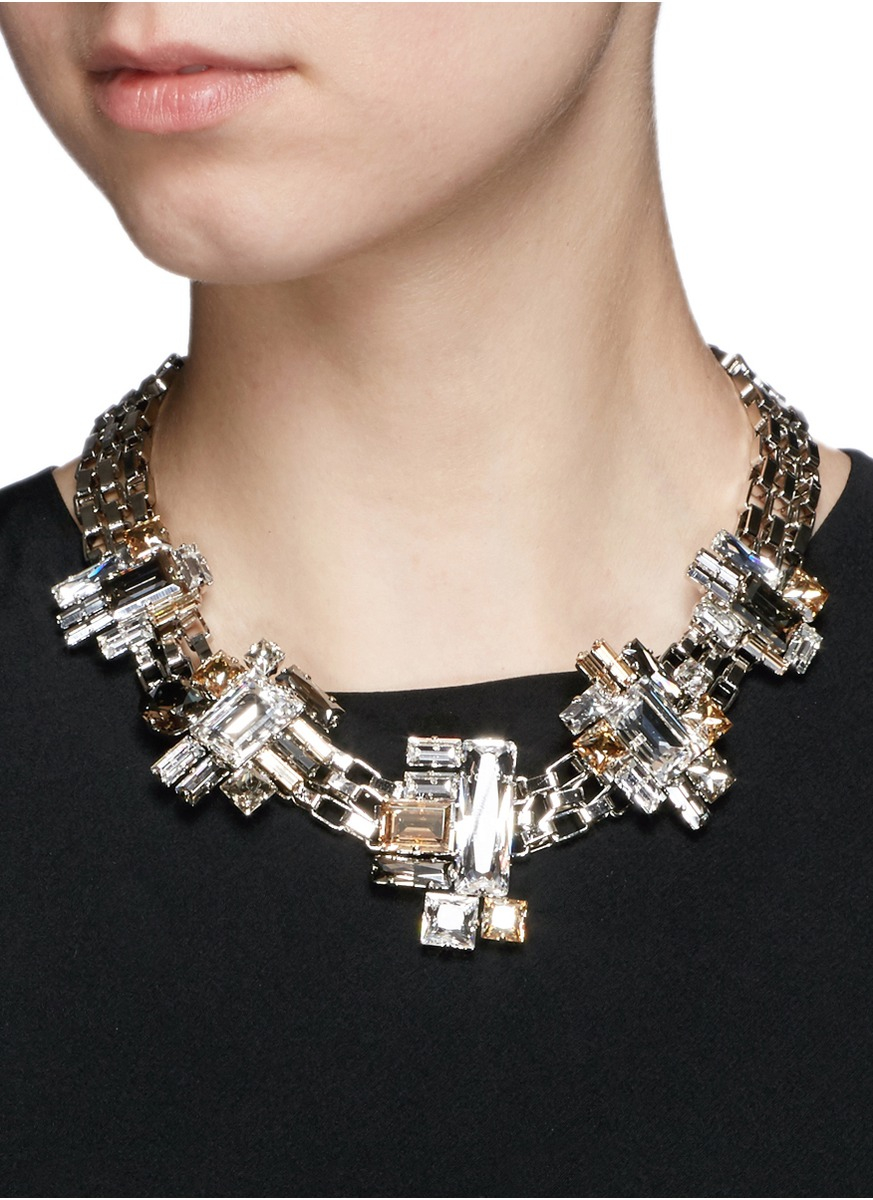 Lyst Atelier Swarovski Manhattan Small Swarovski Crystal Chain Necklace In Metallic