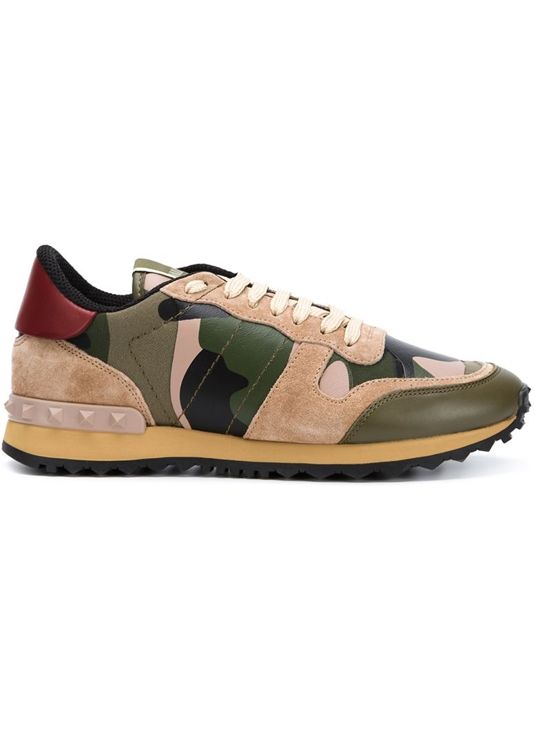 546f2095d9695 Valentino 'Rockrunner' Camouflage Sneakers in Green - Lyst